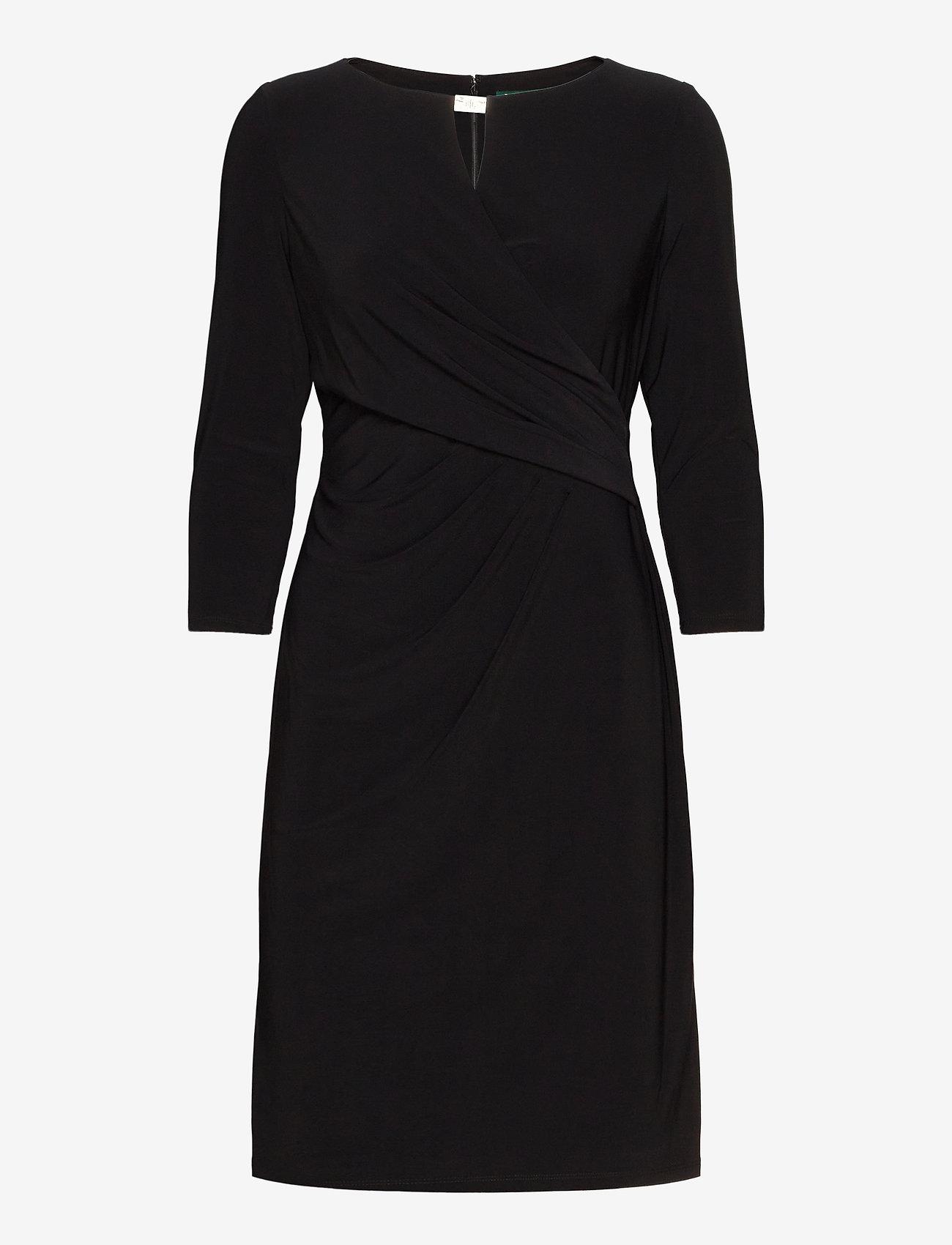 Lauren Ralph Lauren - Wrap-Style Jersey Dress - midi kjoler - black - 1