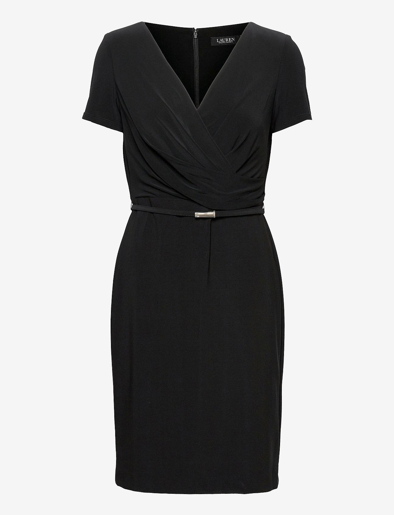 Lauren Ralph Lauren - Surplice Matte Jersey Dress - cocktailkjoler - black - 0