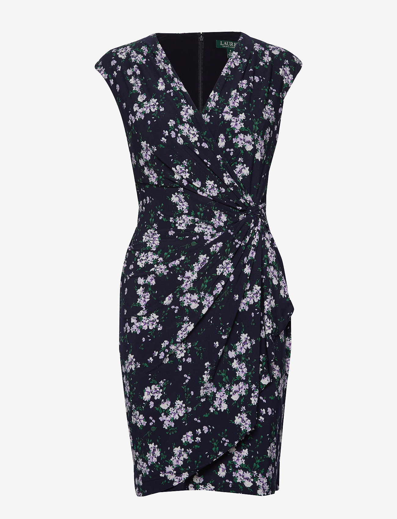 Lauren Ralph Lauren - Floral Pleated Surplice Dress - omslagskjoler - lh navy/violet/mu - 0