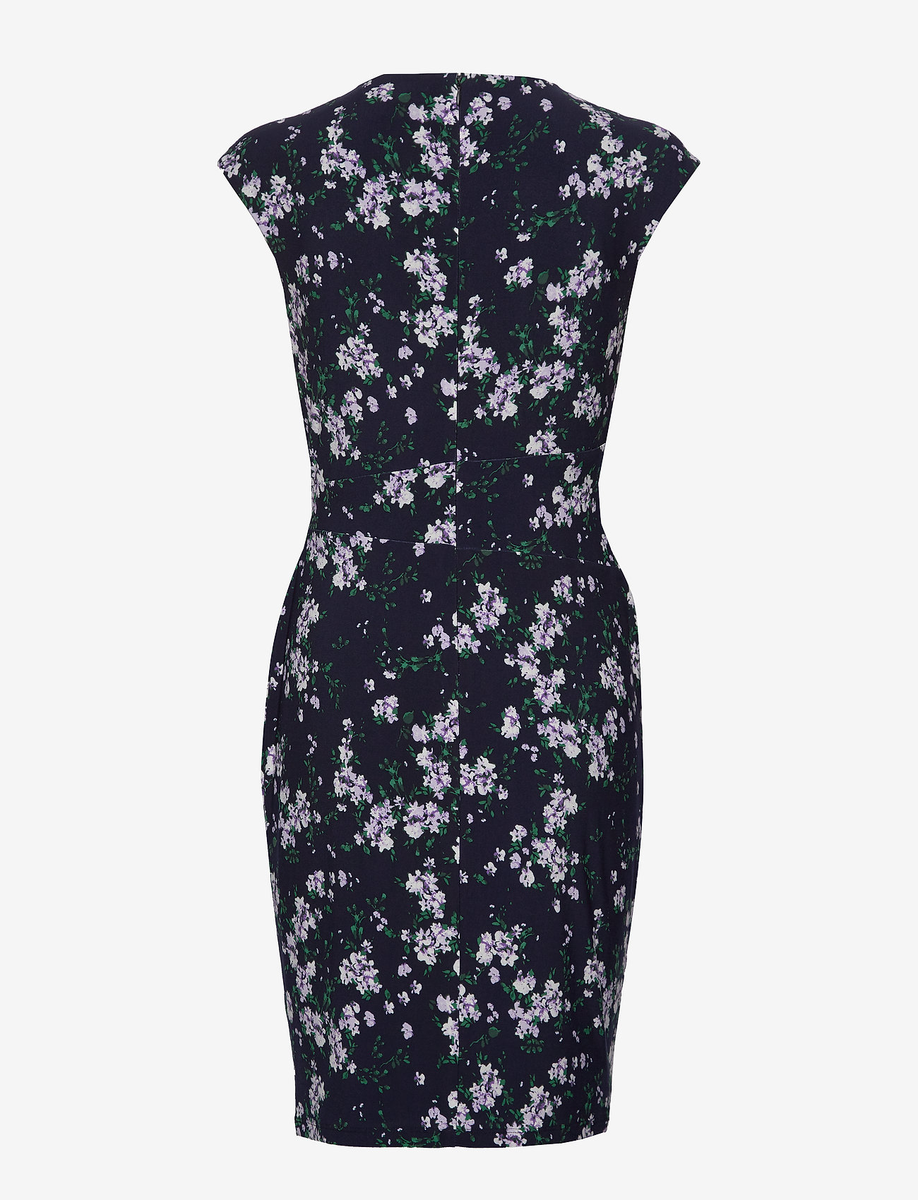 Lauren Ralph Lauren - Floral Pleated Surplice Dress - omslagskjoler - lh navy/violet/mu - 1