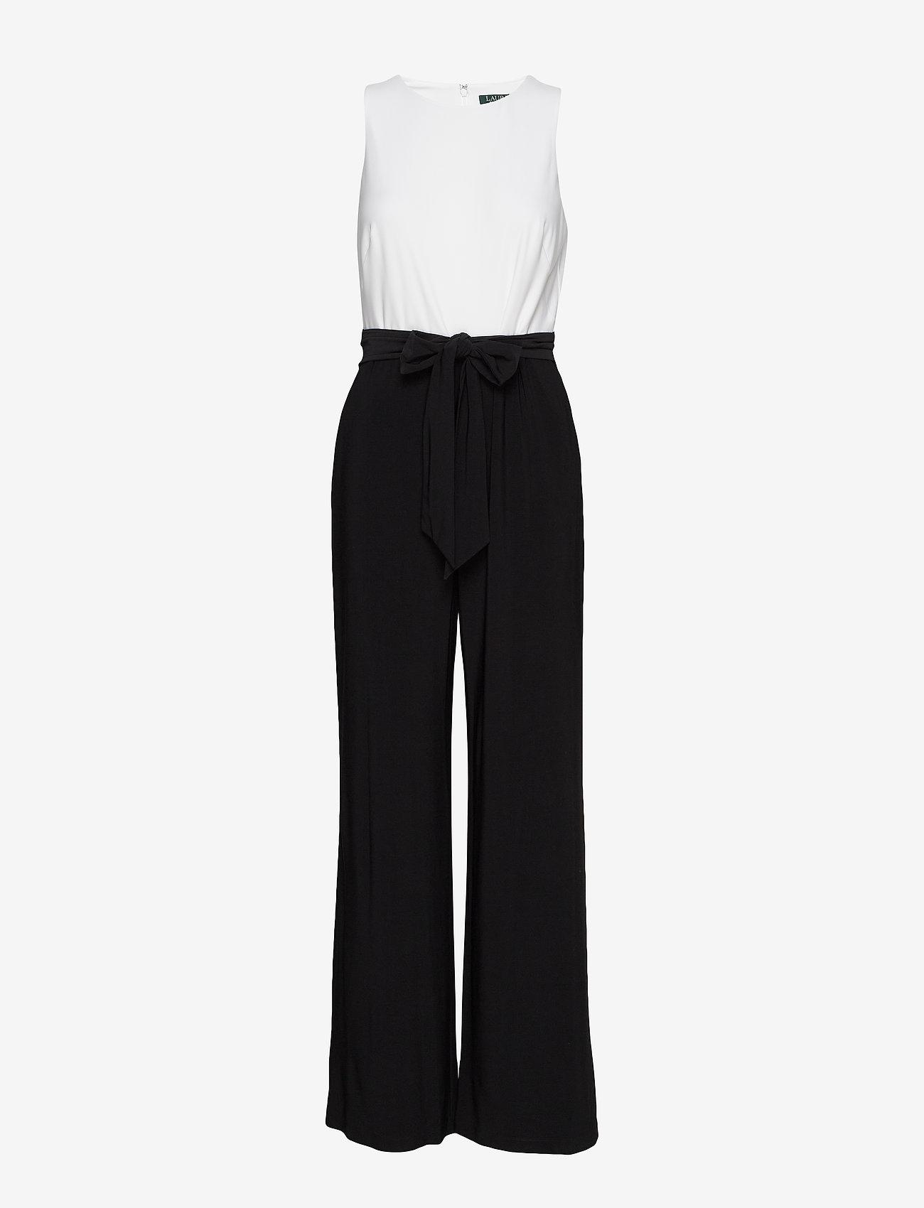 Lauren Ralph Lauren - Two-Tone Jersey Jumpsuit - buksedragter - black/lauren whit - 0