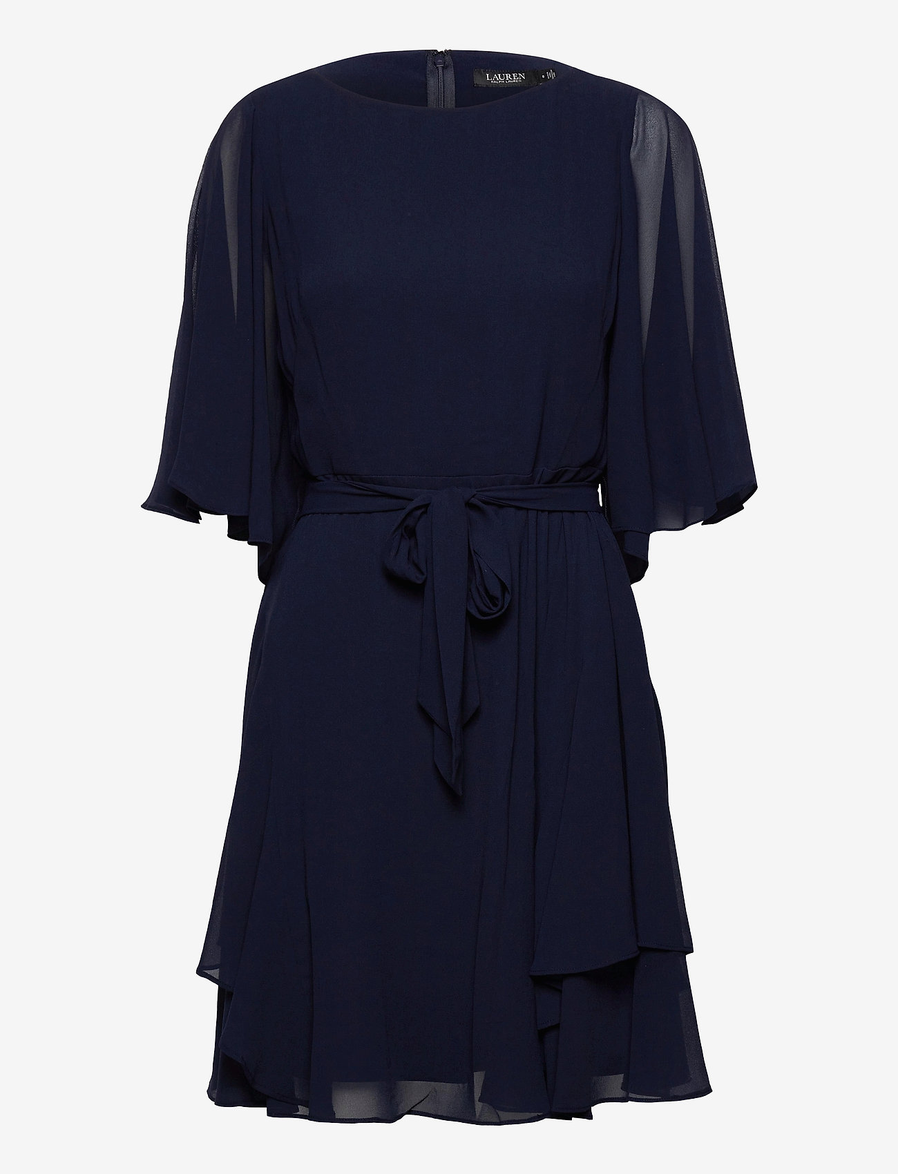 Lauren Ralph Lauren - Ruffle-Sleeve Georgette Dress - cocktailkjoler - lighthouse navy - 0