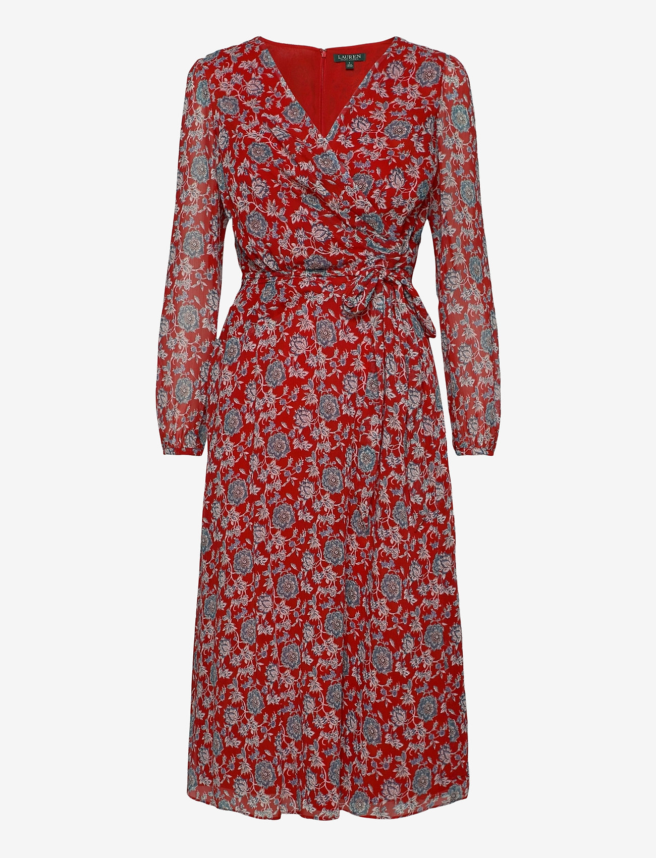 Lauren Ralph Lauren - Puff-Sleeve Georgette Dress - slå-om-kjoler - red/blue/multi - 1