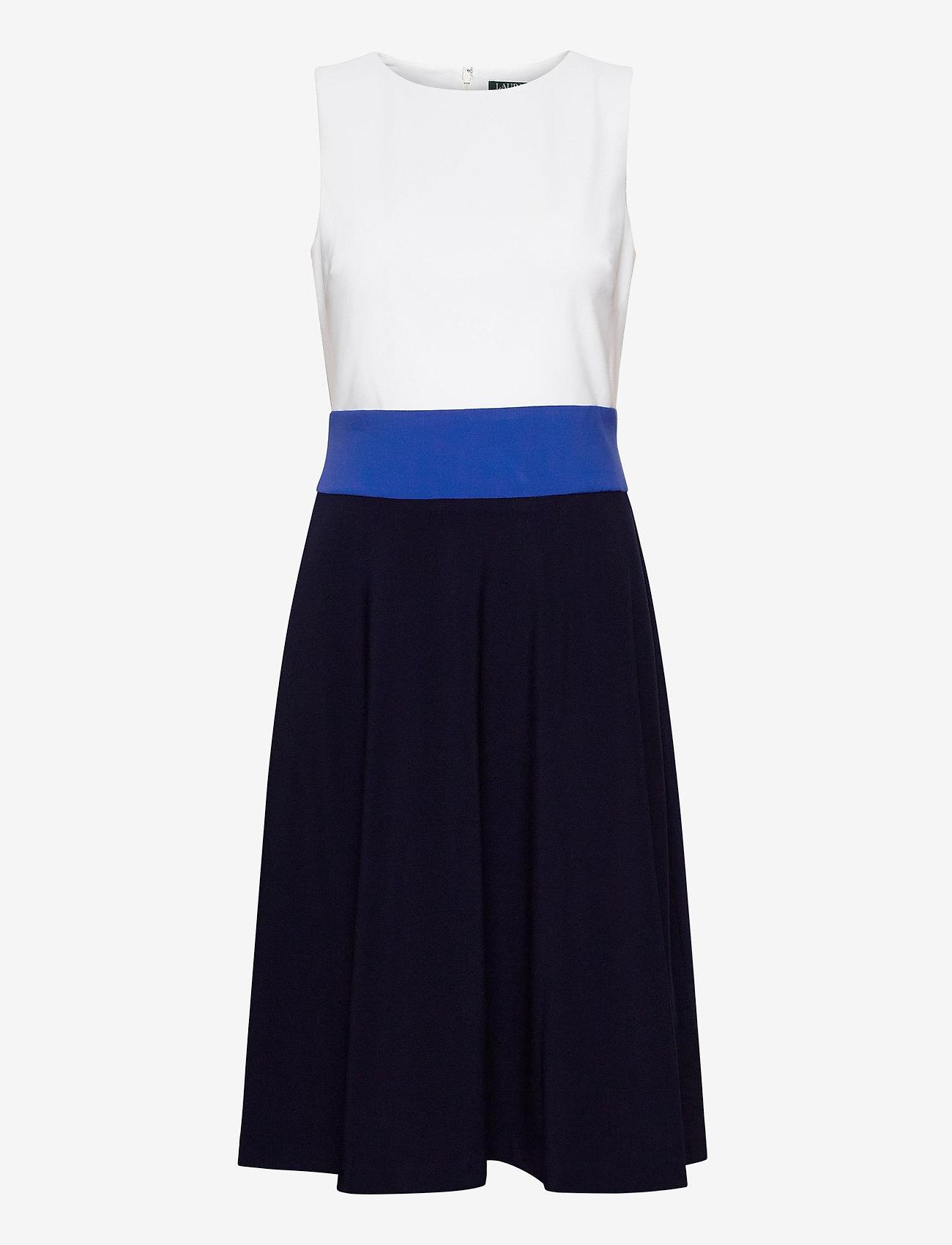 Lauren Ralph Lauren - Three-Tone Jersey Dress - midi kjoler - lh navy/summer sa - 1