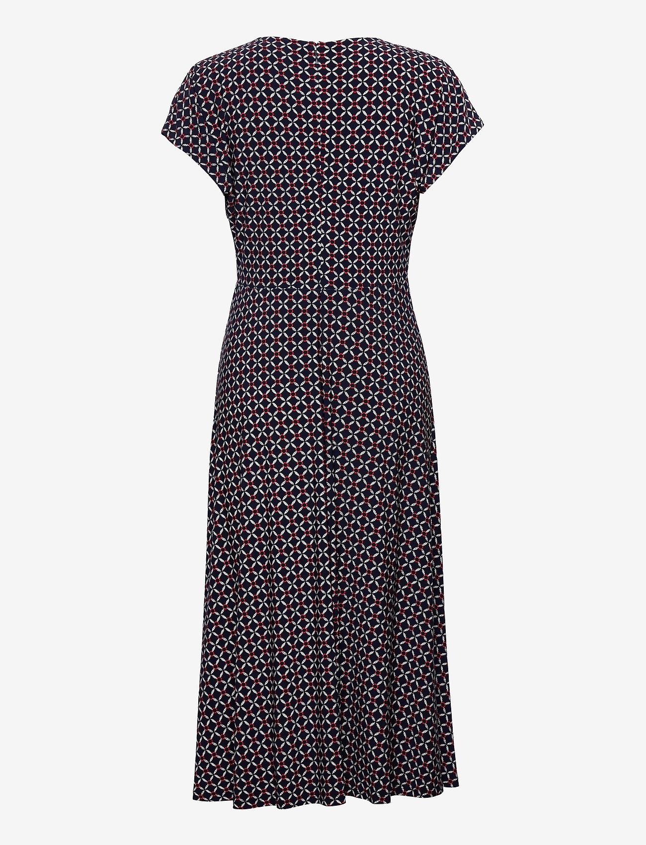 Lauren Ralph Lauren - Print Buckle-Trim Jersey Dress - hverdagskjoler - lh navy/red/multi - 1