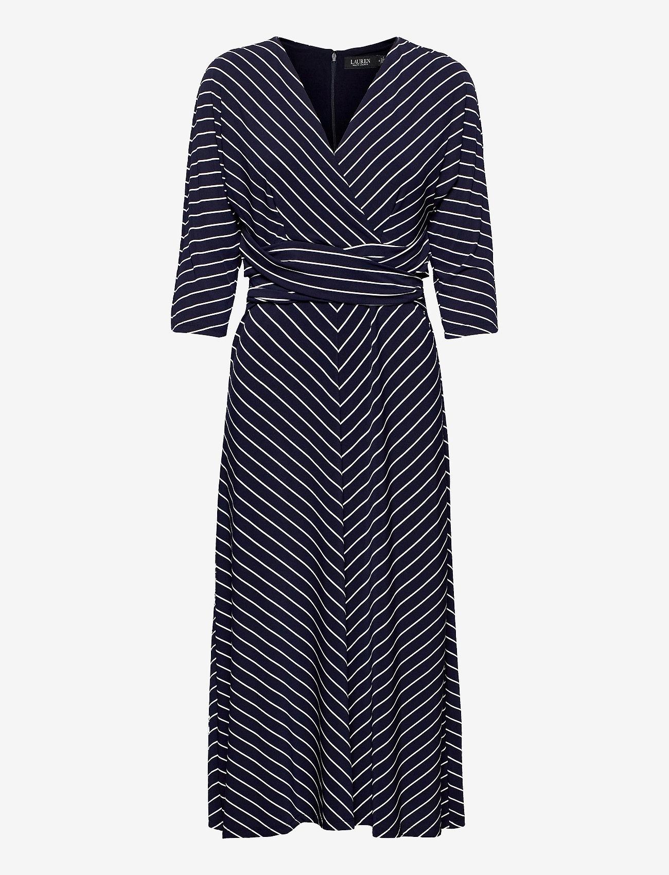 Lauren Ralph Lauren - Striped Elbow-Sleeve Jersey Dress - sommerkjoler - lh navy/colonial - 0