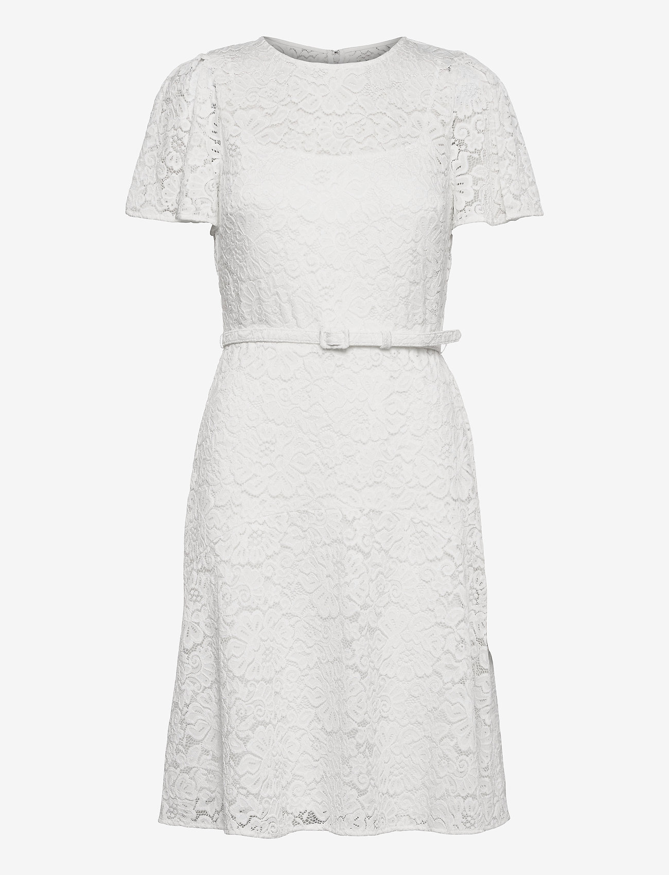 Lauren Ralph Lauren - Belted Lace Dress - cocktailkjoler - lauren white - 1