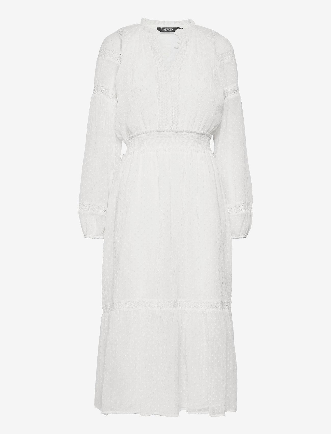 Lauren Ralph Lauren - Polka-Dot Lace-Trim Dobby Dress - alledaagse jurken - lauren white - 1
