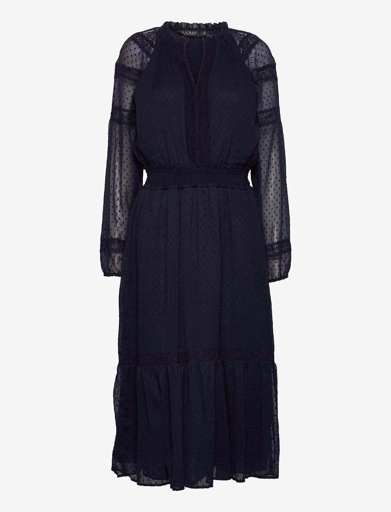 Lauren Ralph Lauren - Polka-Dot Lace-Trim Dobby Dress - hverdagskjoler - lighthouse navy - 1
