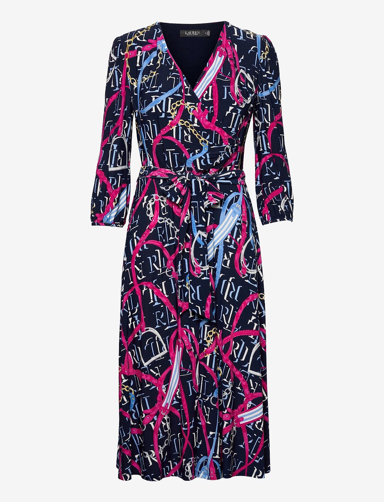Lauren Ralph Lauren - Print Jersey Surplice Dress - hverdagskjoler - lh navy/aruba pin - 1