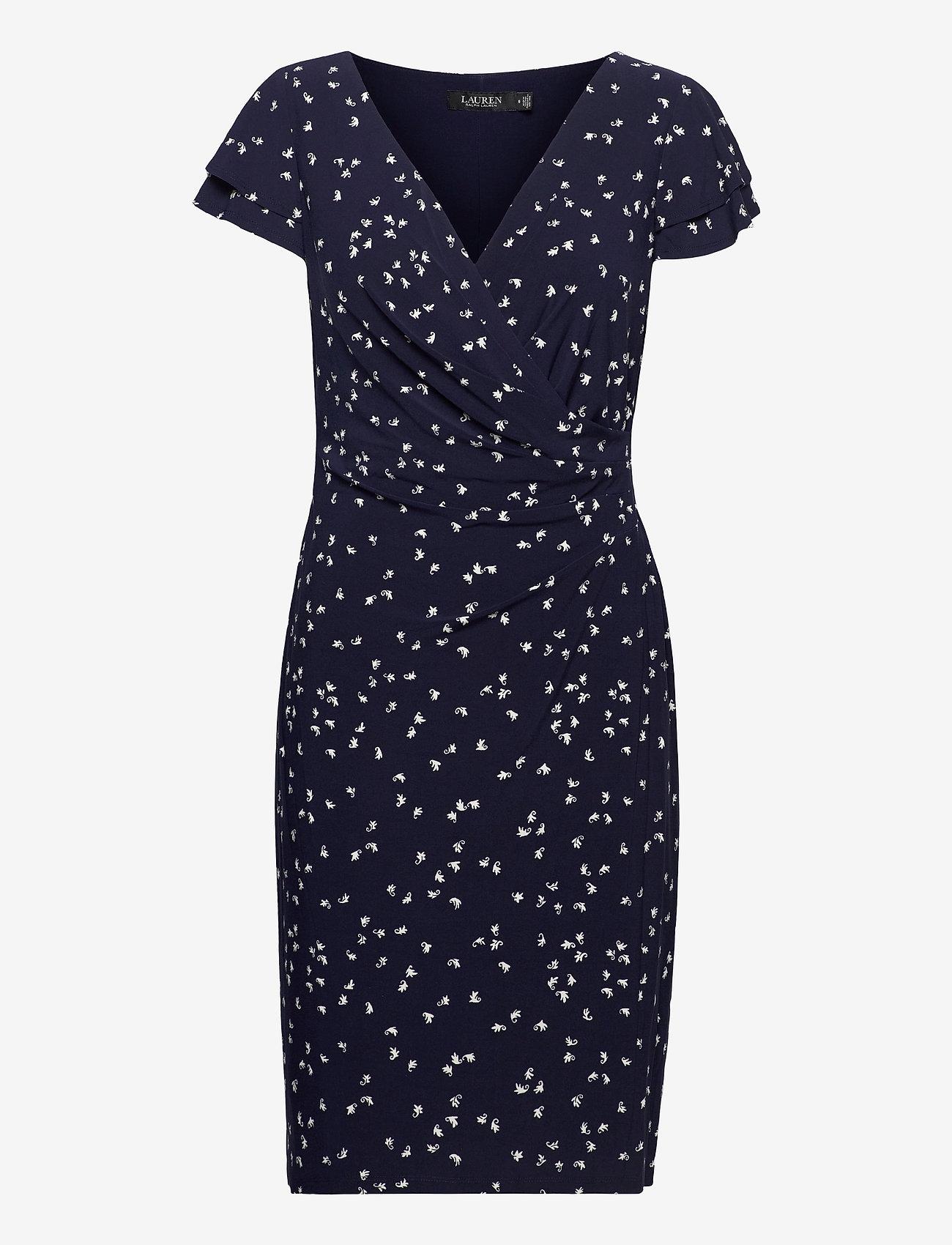 Lauren Ralph Lauren - Print Jersey Surplice Dress - sommerkjoler - lighthouse navy/c - 0