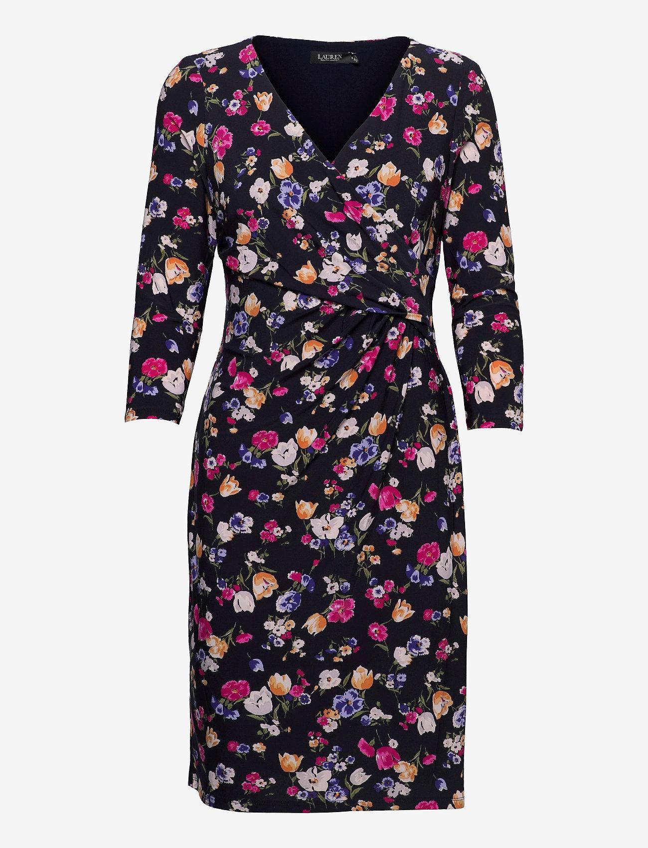 Lauren Ralph Lauren - Floral Jersey Surplice Dress - hverdagskjoler - lighthouse navy/p - 0