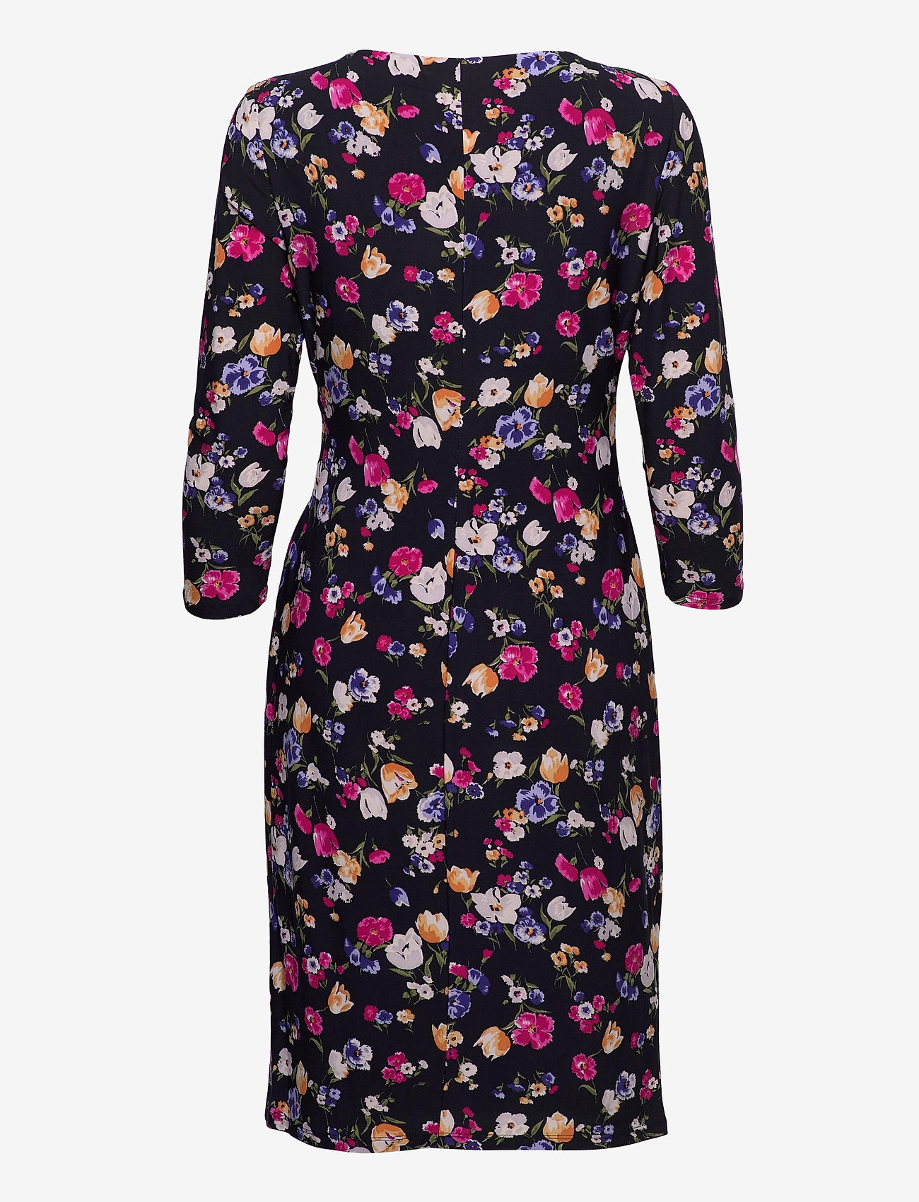 Lauren Ralph Lauren - Floral Jersey Surplice Dress - hverdagskjoler - lighthouse navy/p - 1