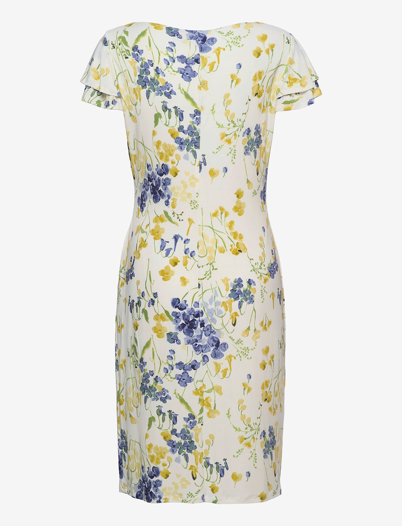 Lauren Ralph Lauren - Floral Jersey Surplice Dress - sommerkjoler - col cream/yellow/ - 1