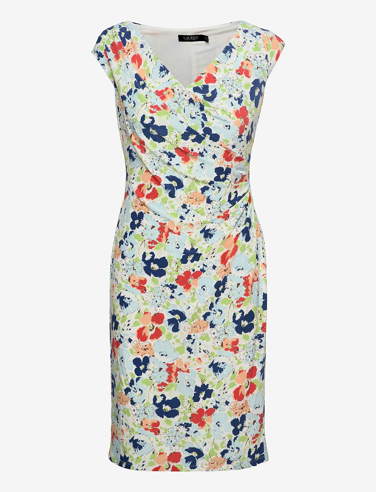 Lauren Ralph Lauren - Floral Pleated Jersey Dress - sommerkjoler - col cream/blue/mu - 0