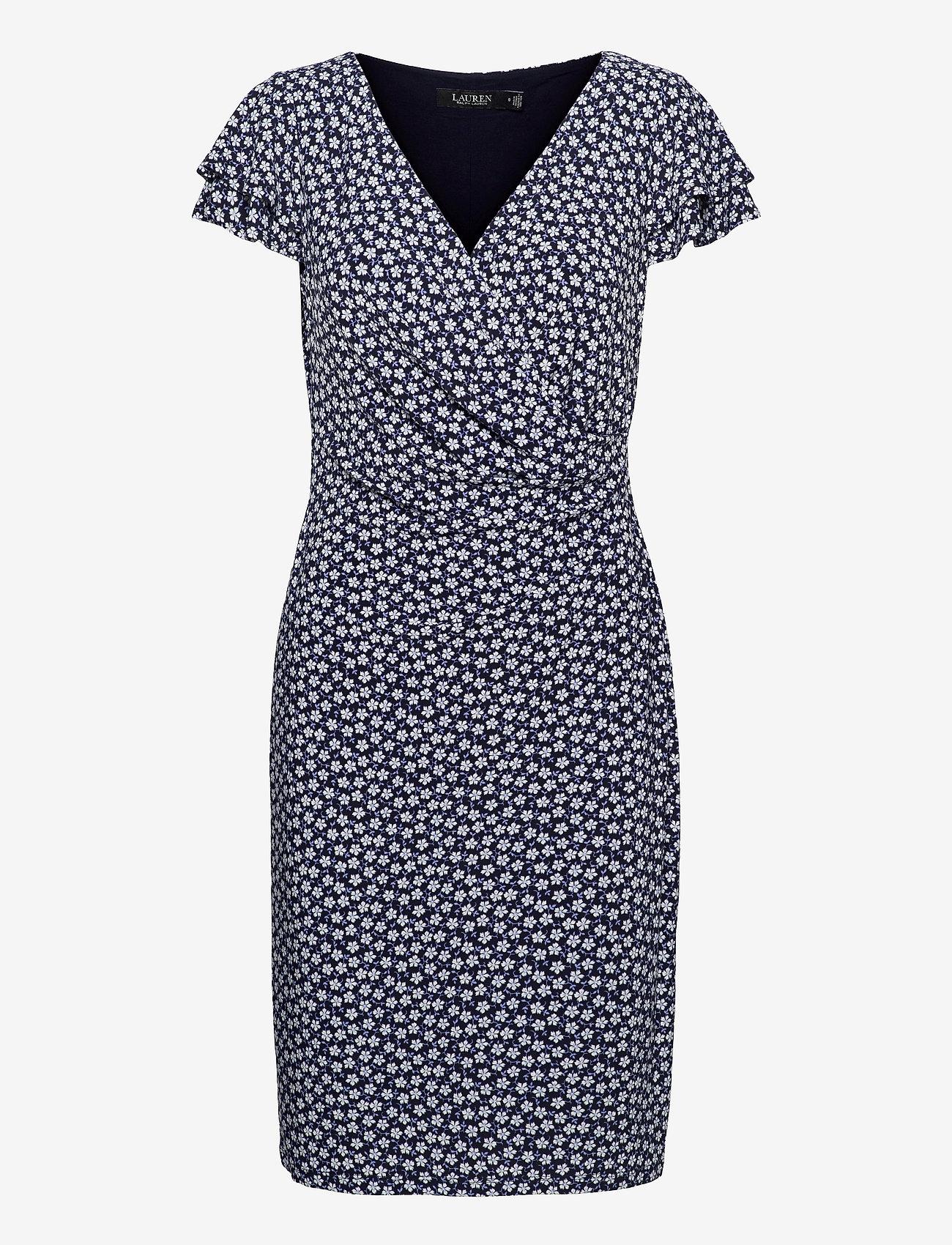 Lauren Ralph Lauren - Floral Jersey Surplice Dress - korte kjoler - lh navy/col cream - 0