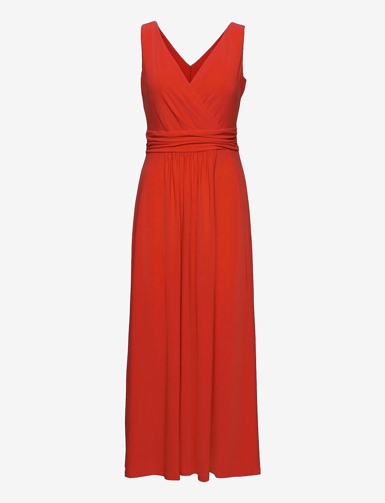 Lauren Ralph Lauren - Jersey Sleeveless Dress - sommerkjoler - bright hibiscus - 0