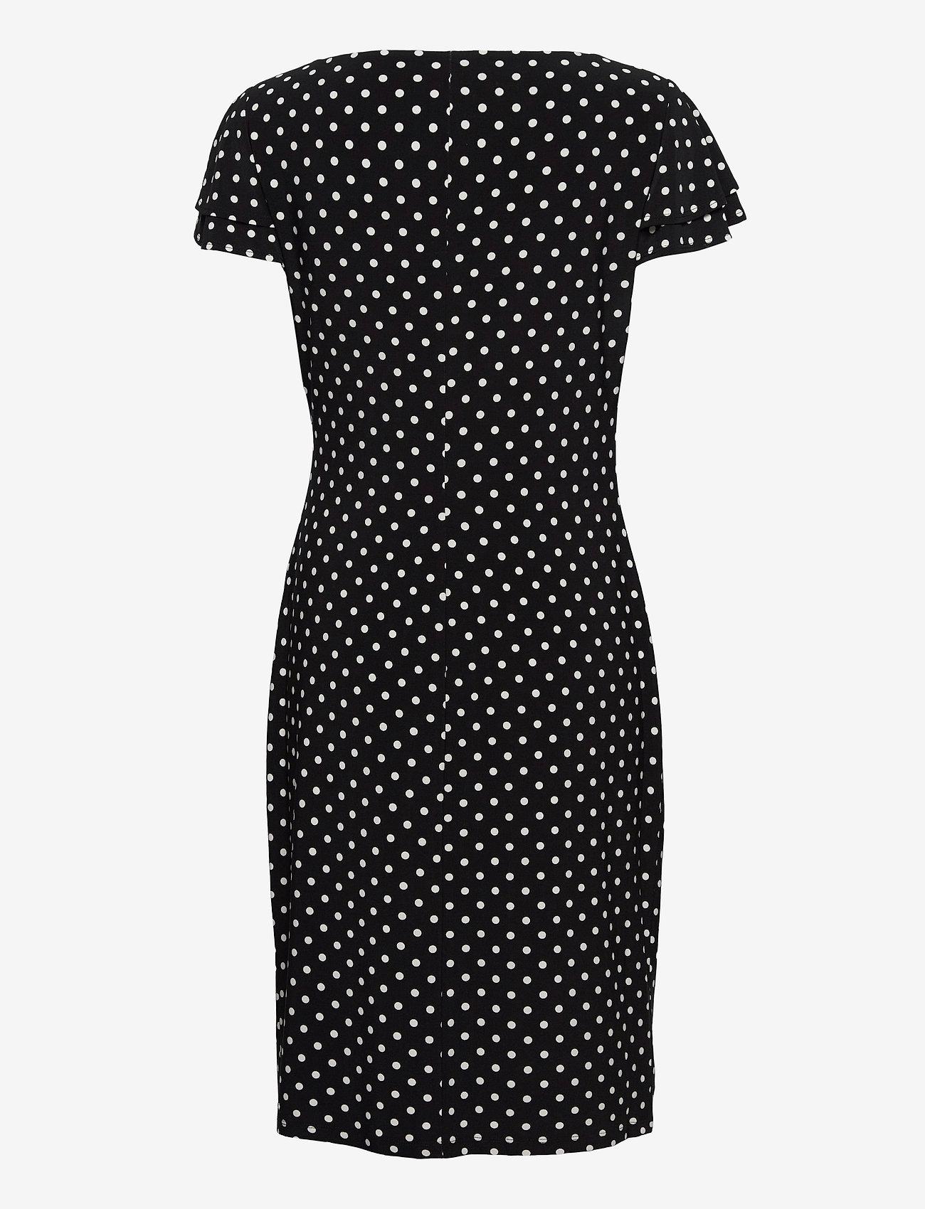 Lauren Ralph Lauren - Polka-Dot Jersey Surplice Dress - robes de jour - black/colonial cr - 1