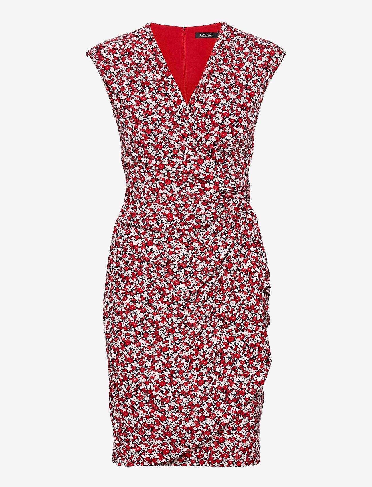 Lauren Ralph Lauren - Floral Pleated Surplice Dress - cocktailkjoler - lighthouse navy/r - 0