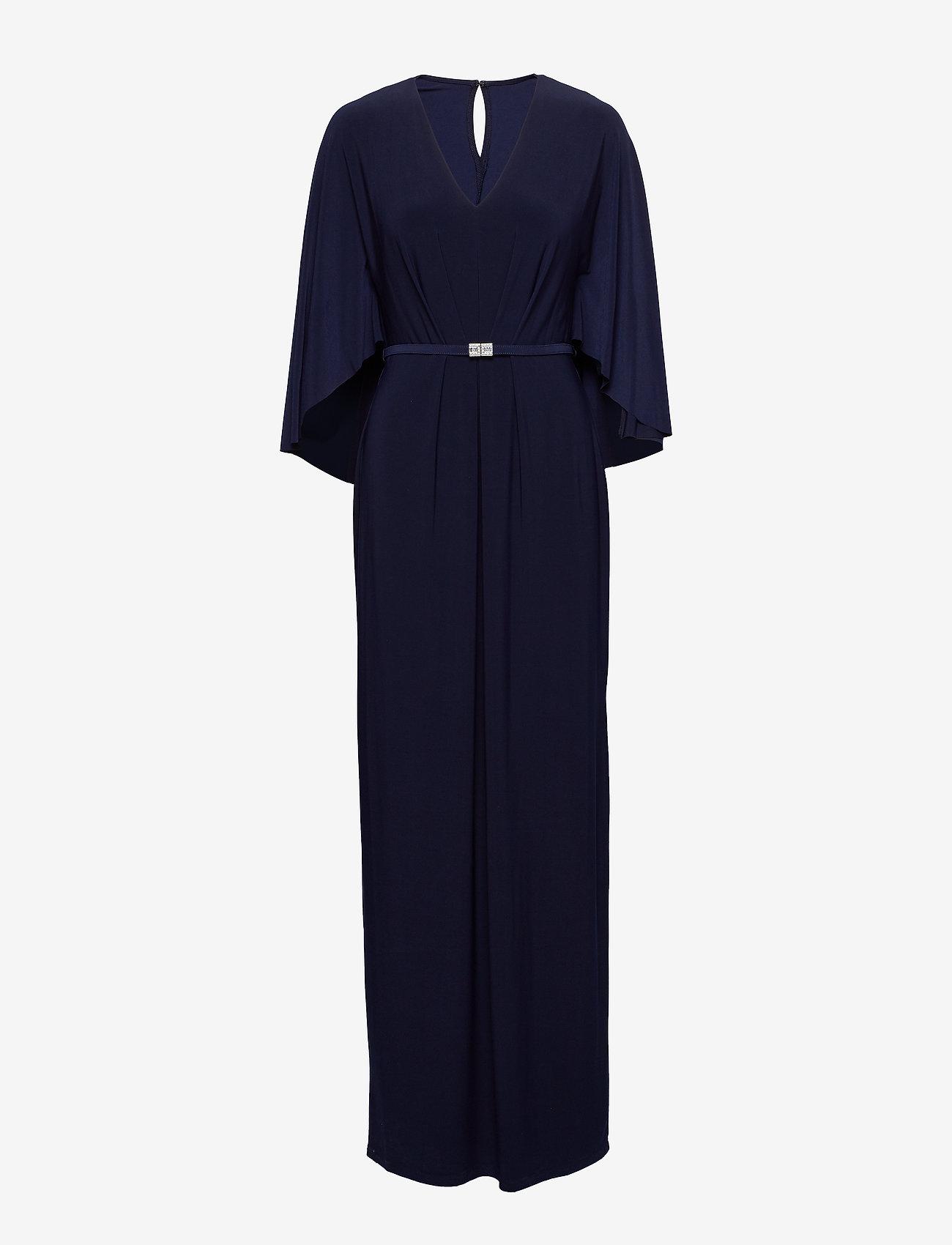 Lauren Ralph Lauren - Belted Cape Jersey Gown - maksimekot - lighthouse navy