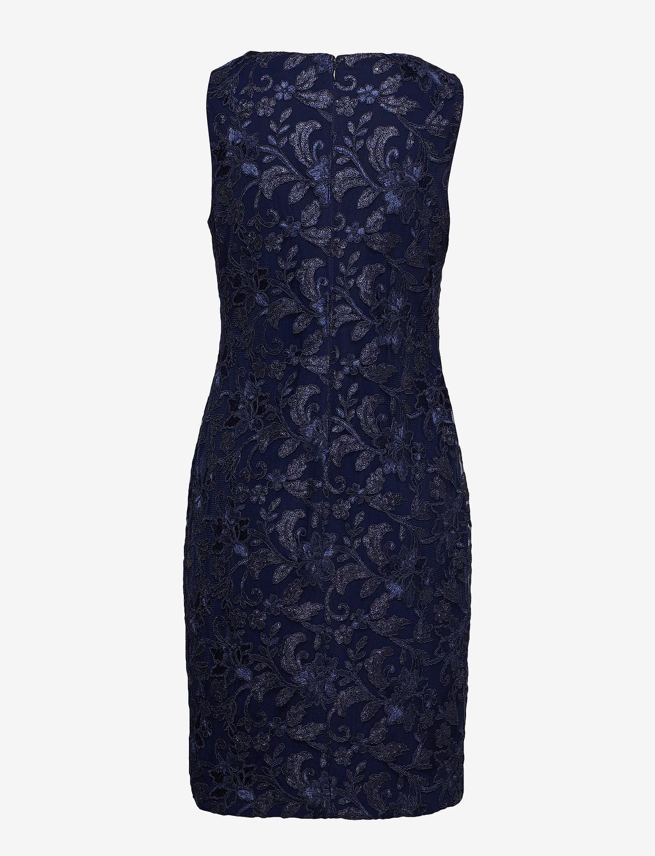Lauren Ralph Lauren - Sequined Floral Mesh Dress - lyhyet mekot - lighthouse navy