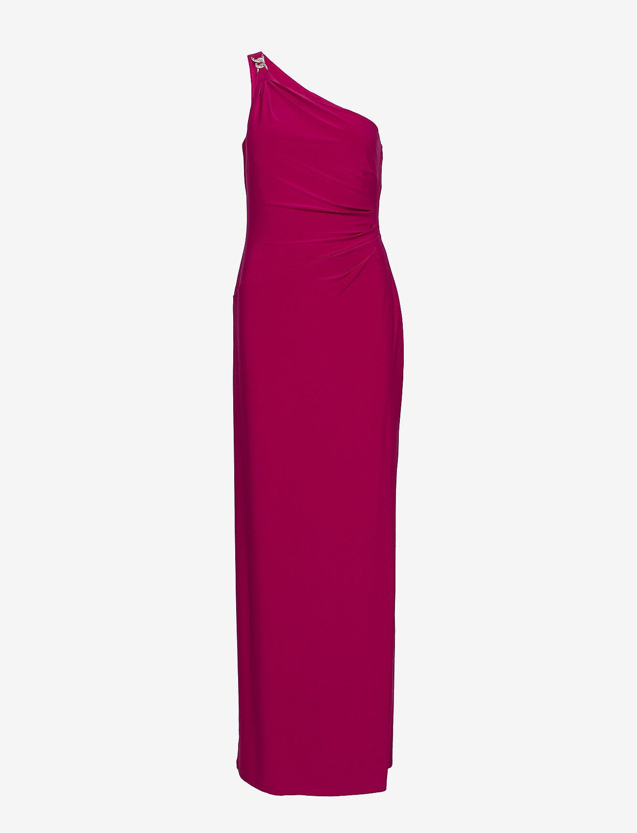 Lauren Ralph Lauren - Jersey One-Shoulder Gown - maxi sukienki - bright fuchsia - 0