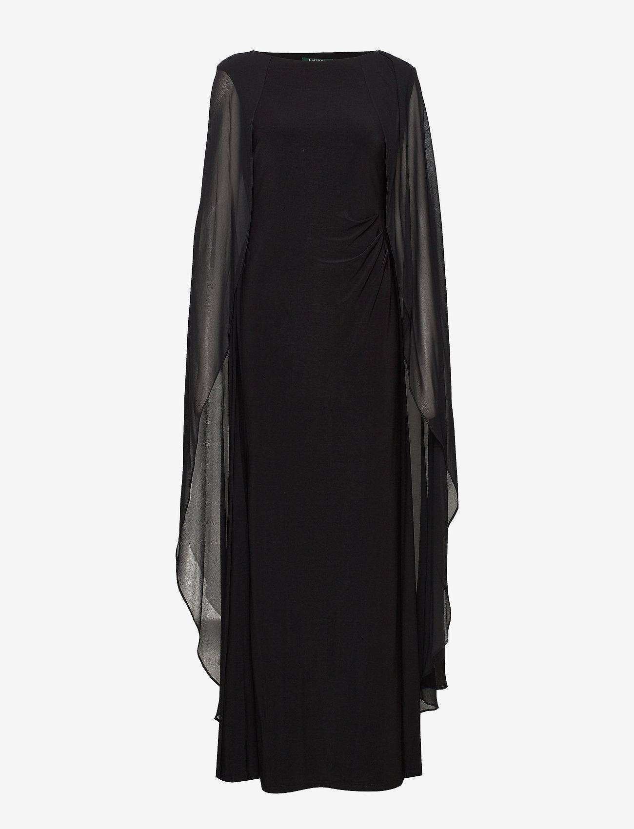 Lauren Ralph Lauren - Georgette-Cape Jersey Gown - kveldskjoler - black - 0