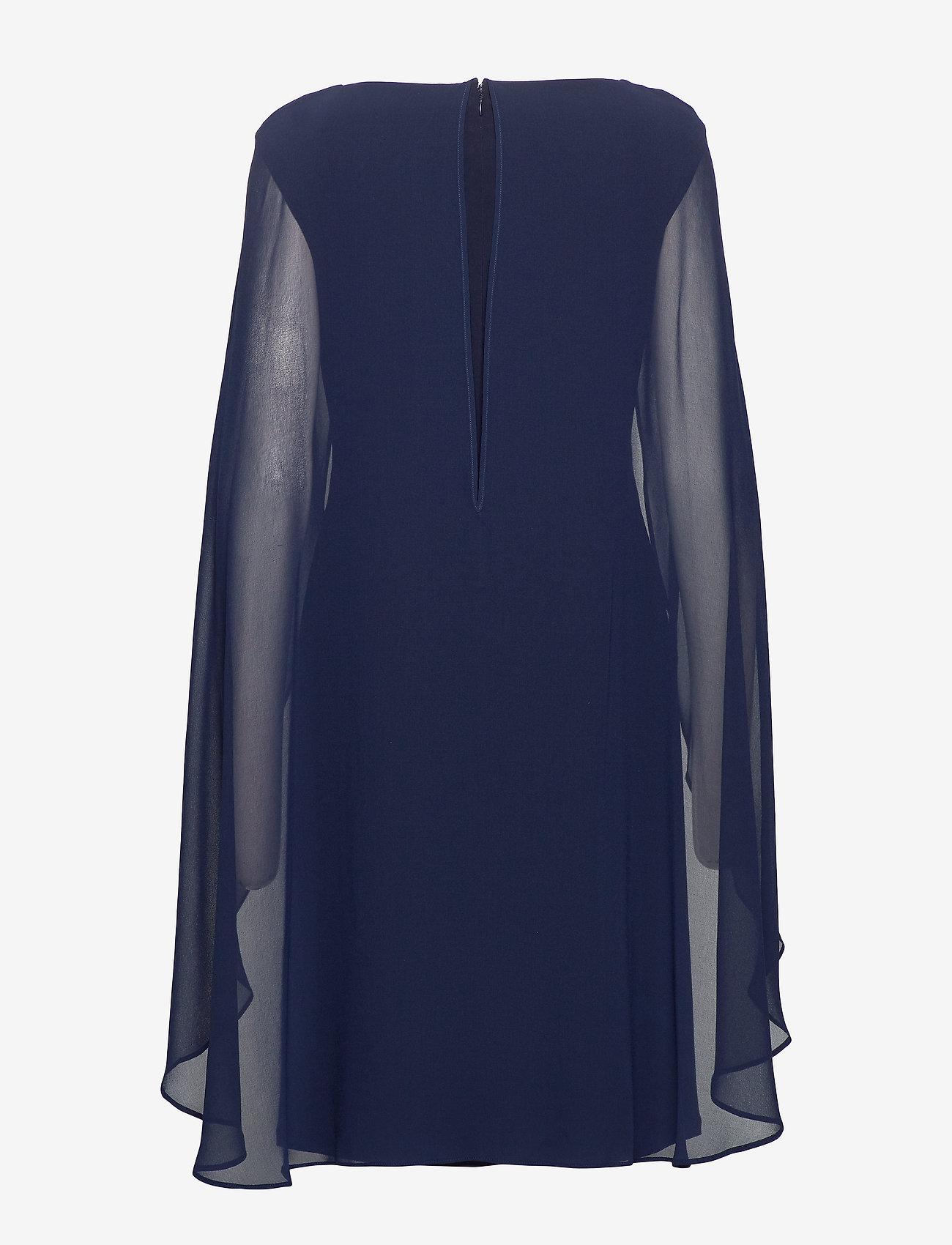 Lauren Ralph Lauren - Georgette-Cape Cocktail Dress - sukienki do kolan i midi - lighthouse navy - 1