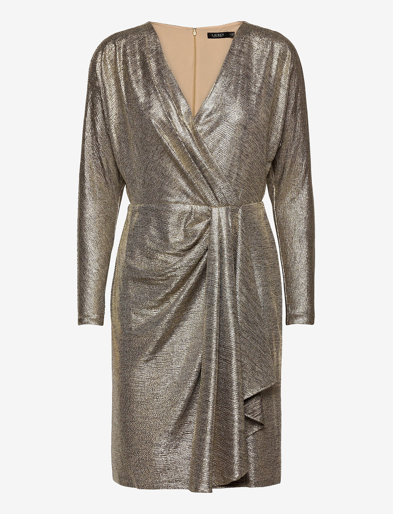 Lauren Ralph Lauren - Metallic Stretch Knit Cocktail Dress - cocktailkjoler - beige/gold - 0