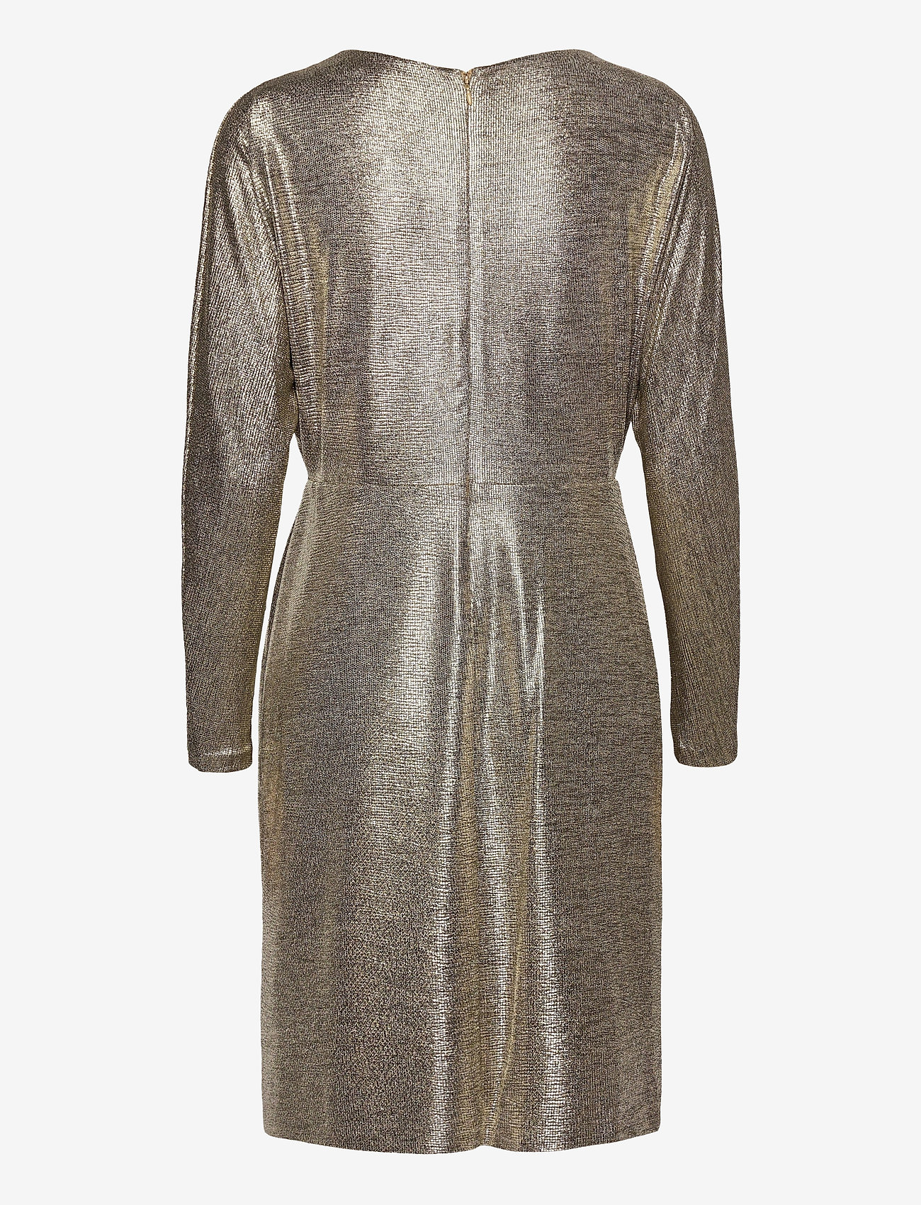 Lauren Ralph Lauren - Metallic Stretch Knit Cocktail Dress - cocktailkjoler - beige/gold - 1