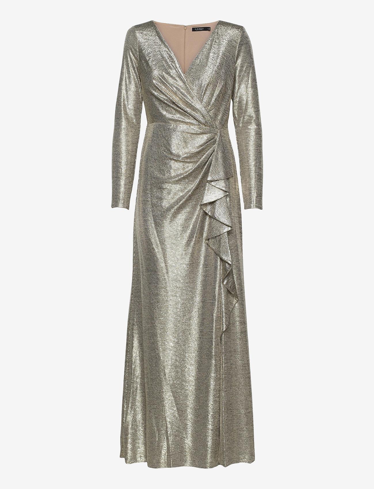Lauren Ralph Lauren - Metallic Ruffle-Trim Gown - aftenkjoler - beige/gold - 0