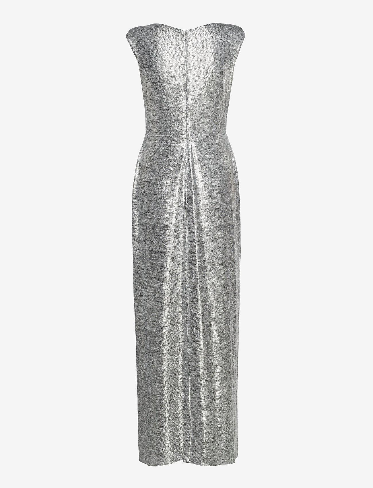 Lauren Ralph Lauren - Ruffle-Trim Metallic Gown - aftenkjoler - dark grey/silver - 1