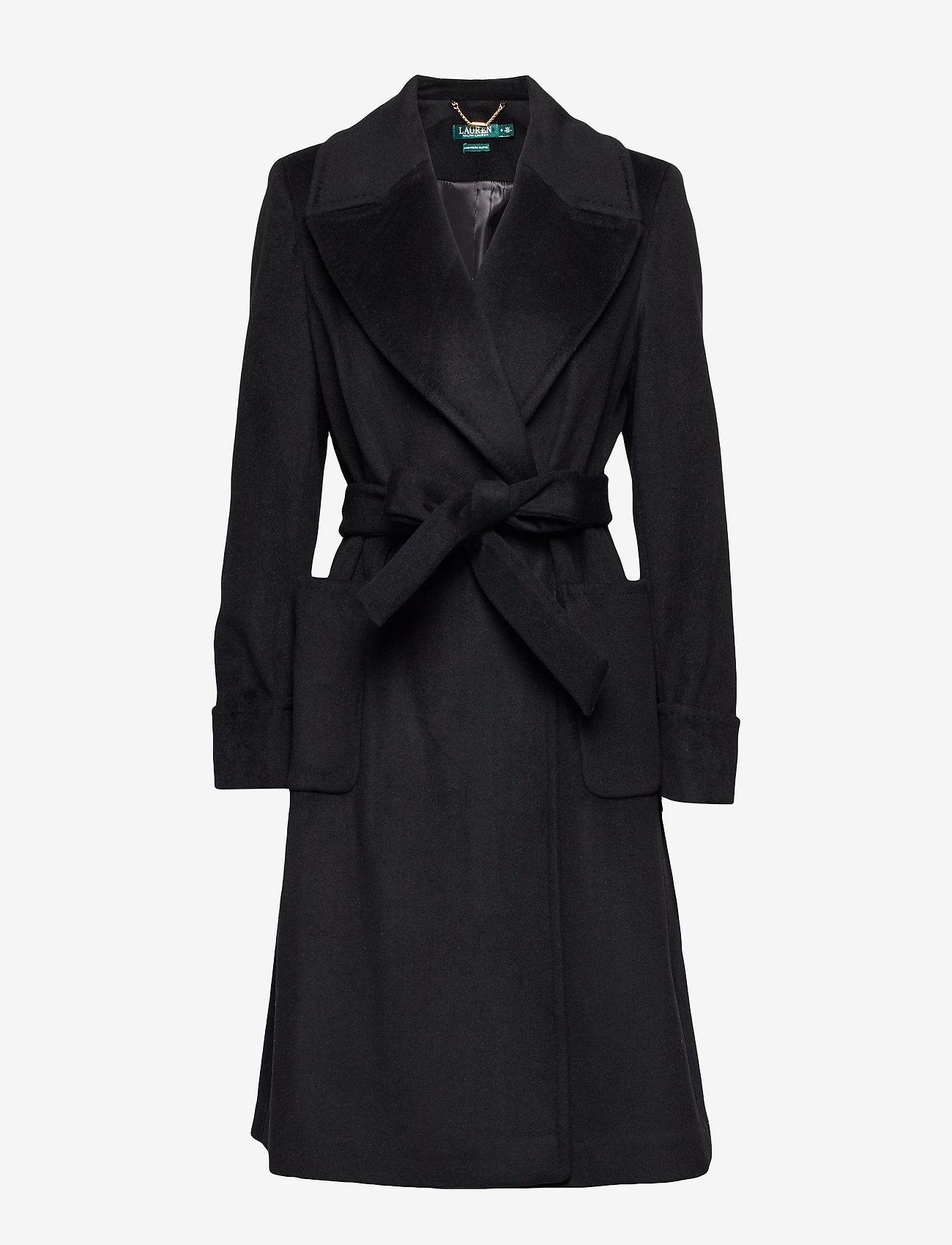 Lauren Ralph Lauren - Wool-Blend Wrap Coat - uldfrakker - black - 0