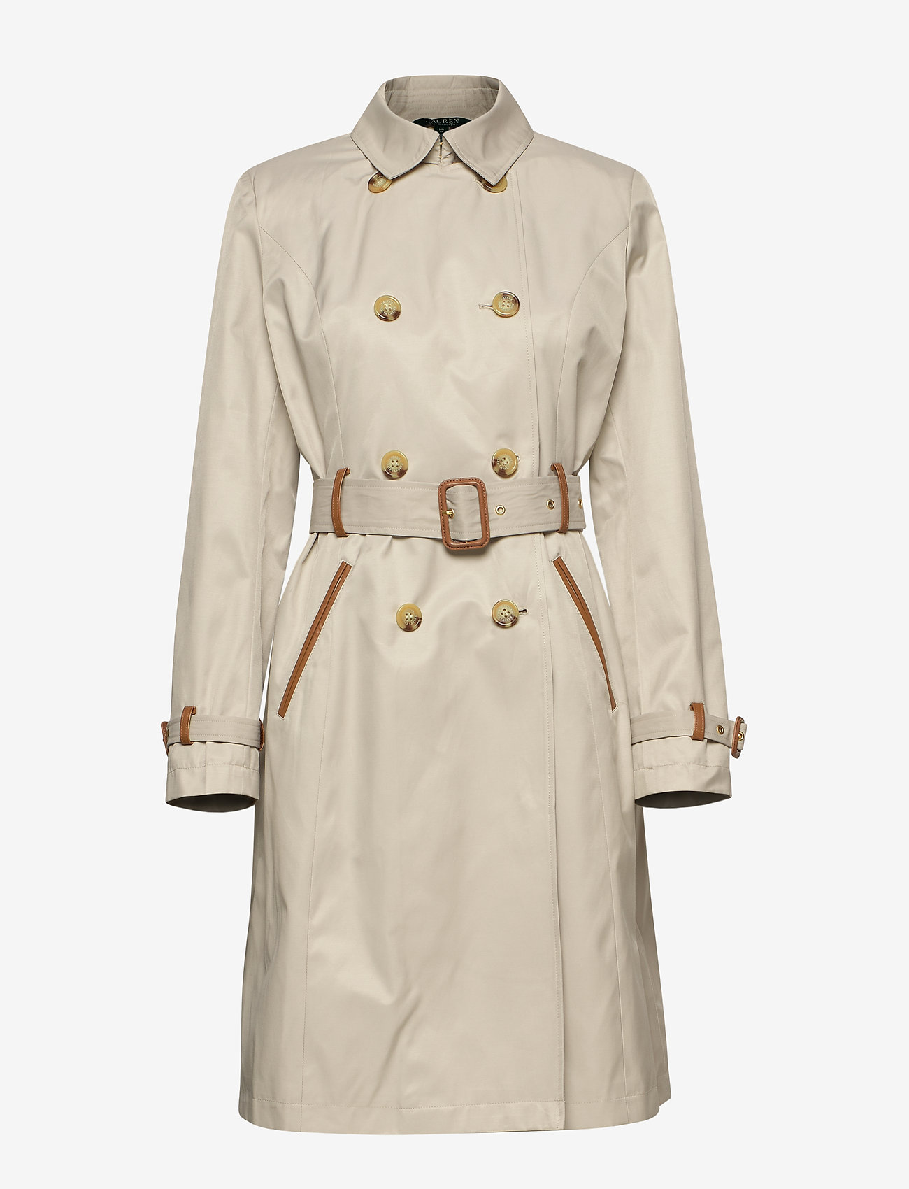 Lauren Ralph Lauren - Faux Leather–Trim Trench Coat - trencze - tone cream - 0