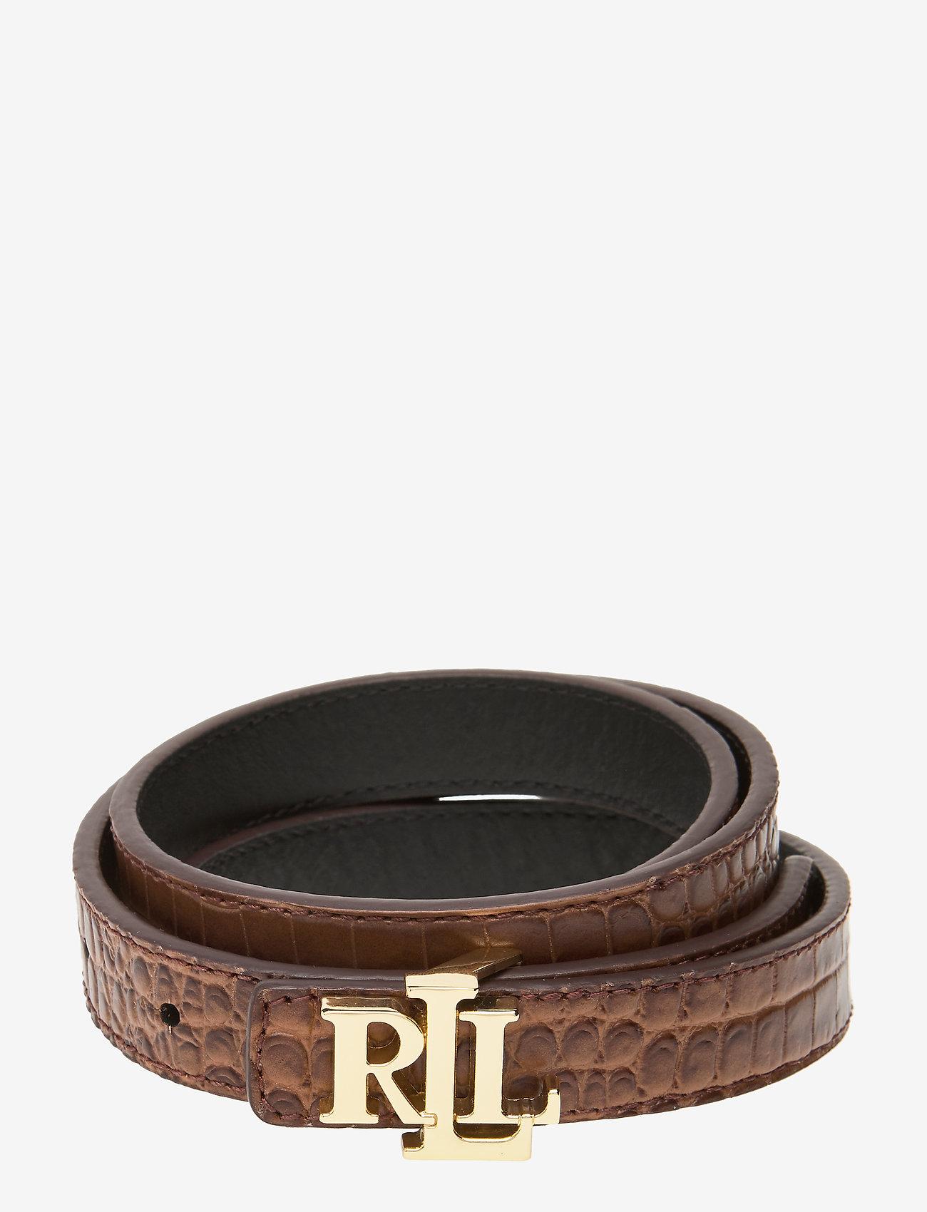 Lauren Ralph Lauren - Reversible Leather Belt - belter - umber brown/black - 0