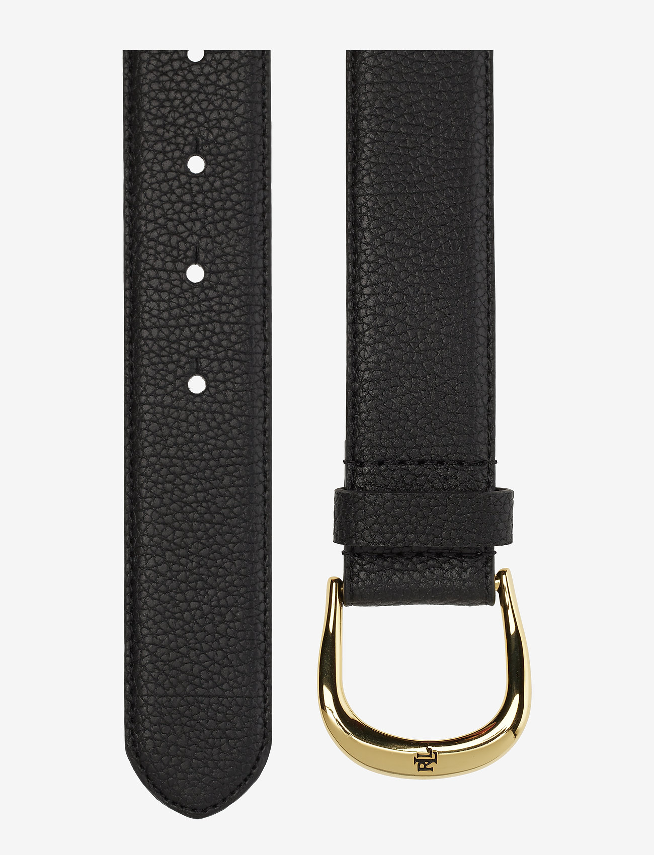 Lauren Ralph Lauren - Pebbled Leather Belt - bælter - black - 1