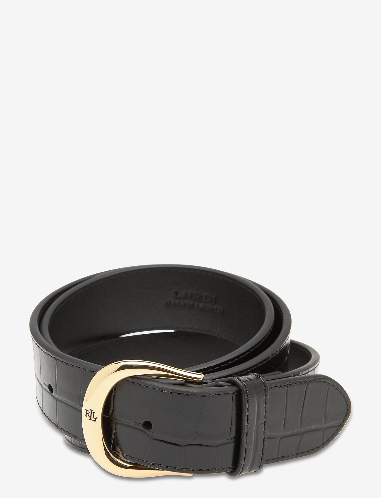 Lauren Ralph Lauren - Crocodile-Embossed Leather Belt - riemen - black - 0