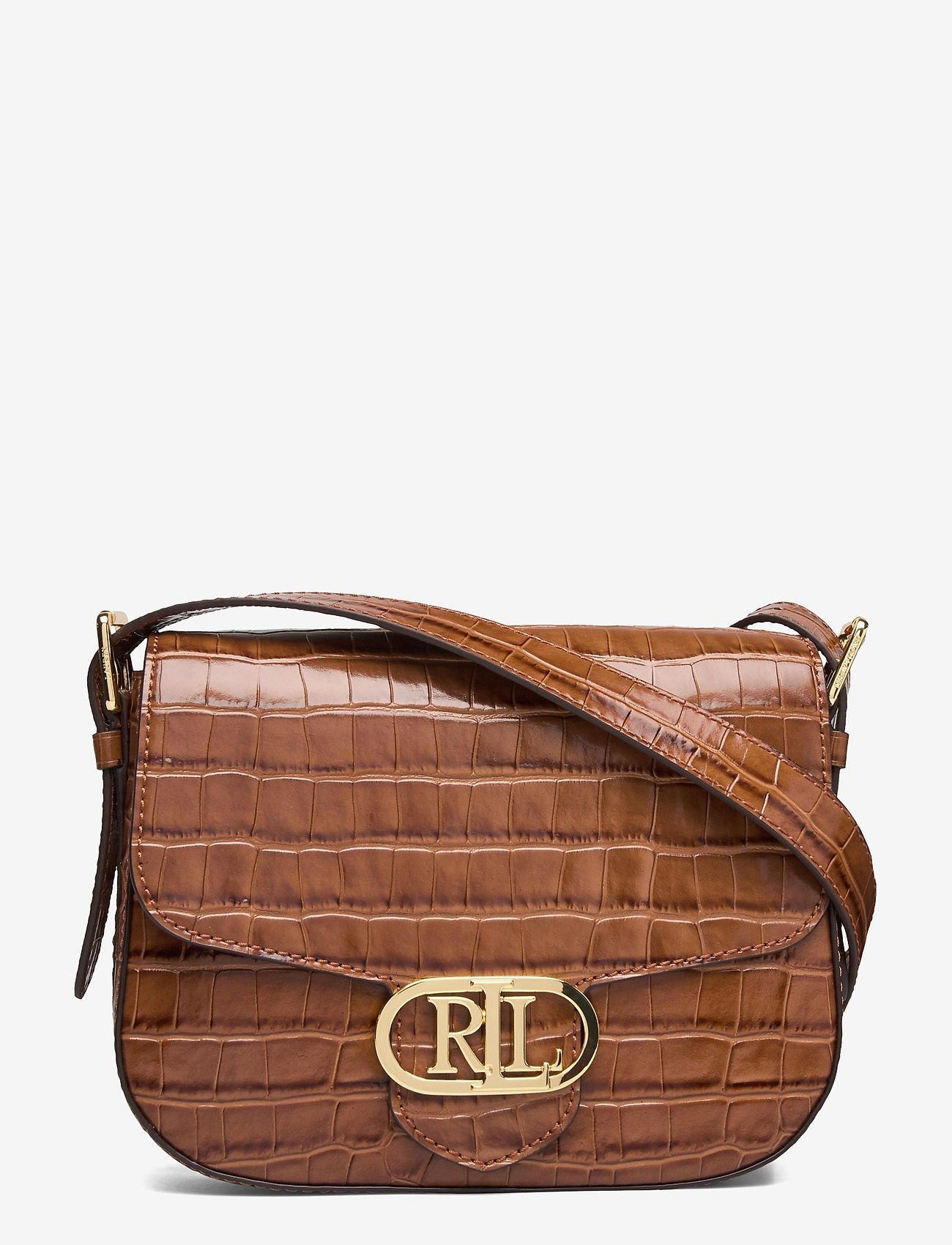 Lauren Ralph Lauren - Embossed Leather Medium Addie Crossbody - crossbody bags - deep saddle tan - 0
