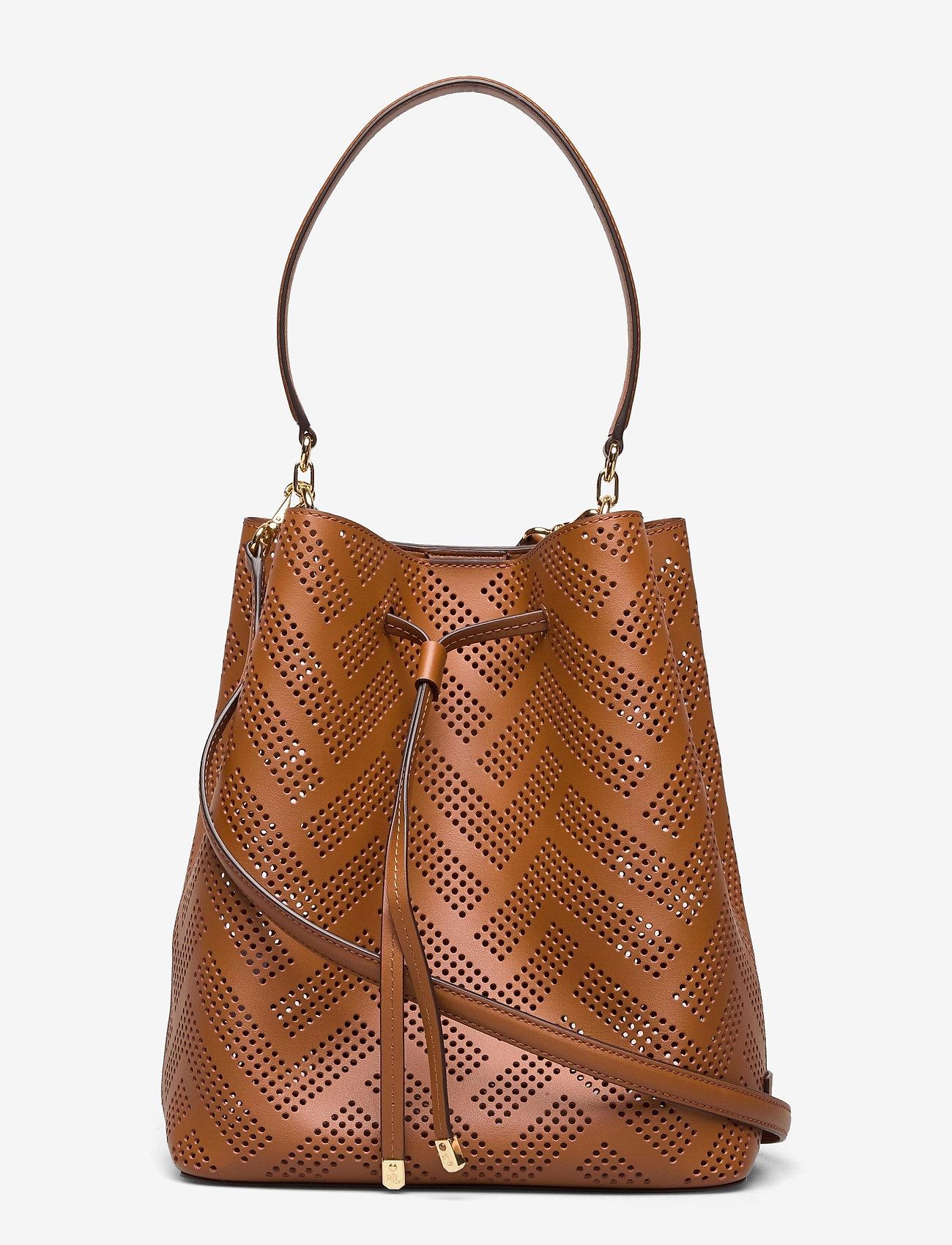 Lauren Ralph Lauren - Perforated Leather Debby Drawstring Bag - bucket bags - lauren tan - 0