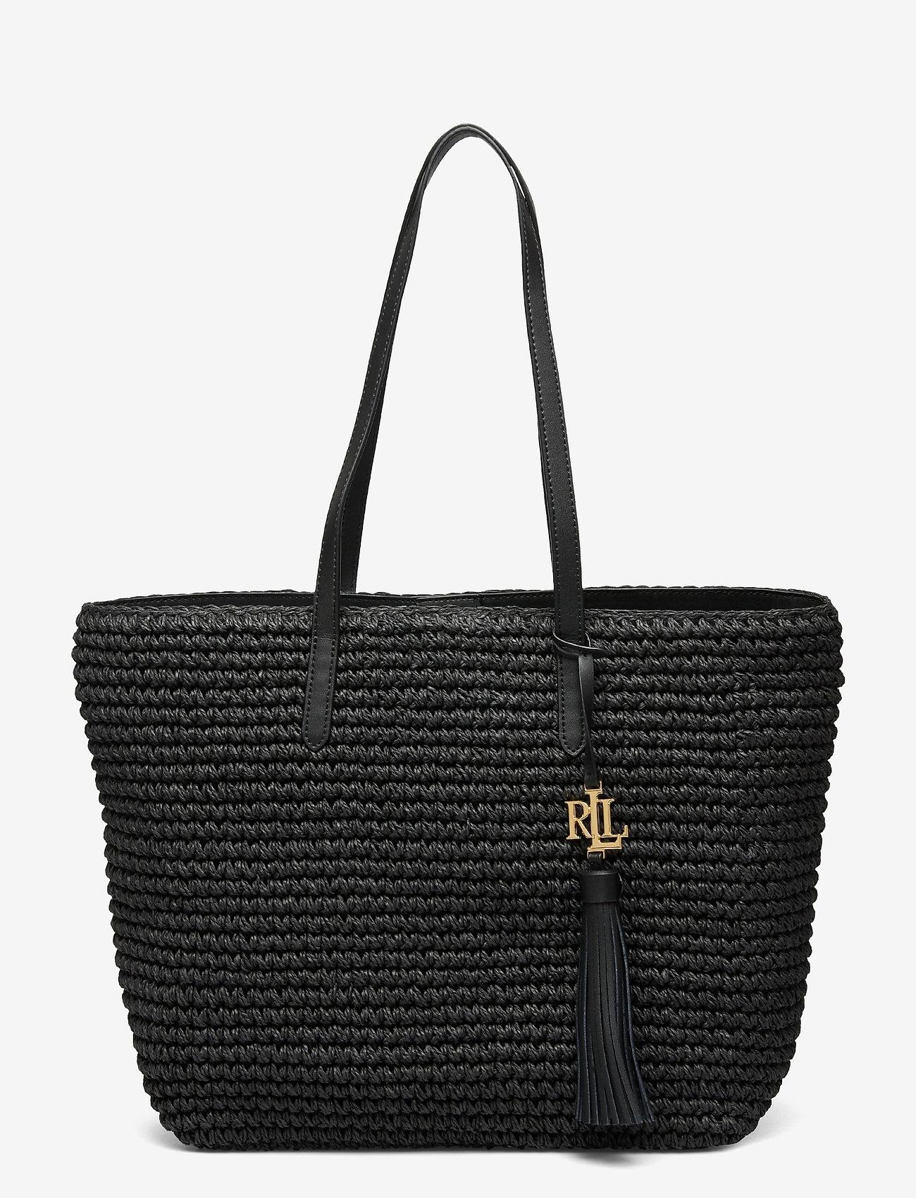 Lauren Ralph Lauren - Crochet-Straw Medium Whitney Tote - shoppere - black/black - 0