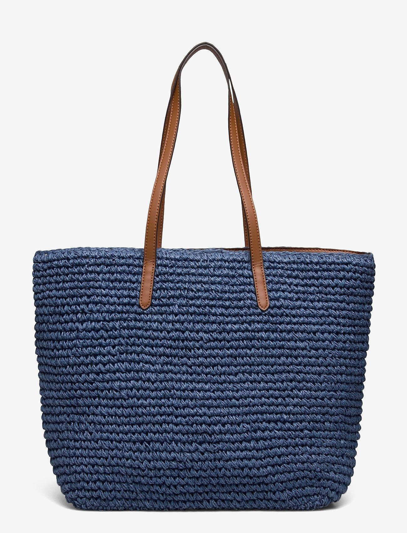 Lauren Ralph Lauren - Crochet-Straw Medium Whitney Tote - shoppere - medium blue/laure - 1
