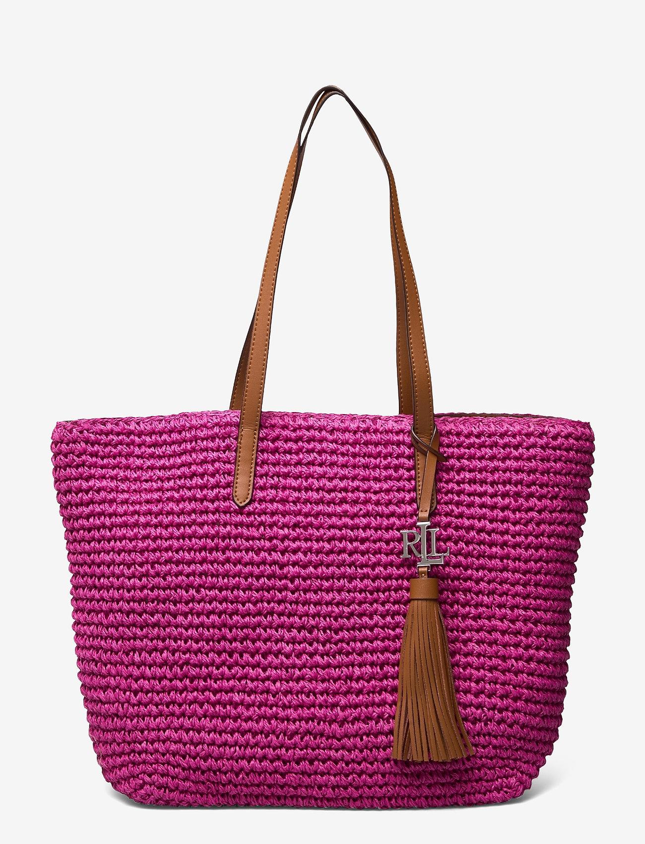 Lauren Ralph Lauren - Crochet-Straw Medium Whitney Tote - shoppere - nouveau bright pi - 0