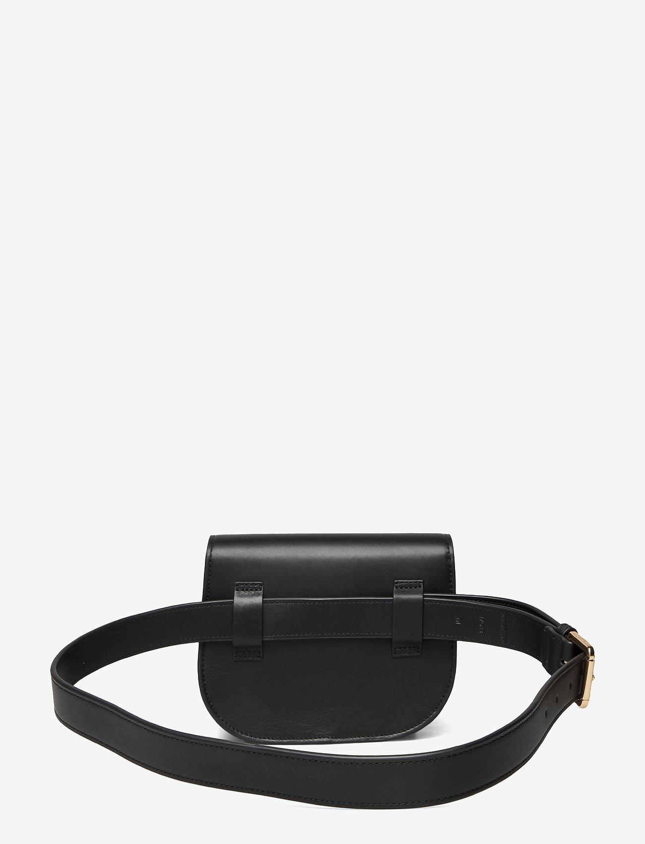 Lauren Ralph Lauren - Aged Leather Medium Addie Belt Bag - bæltetasker - black - 1
