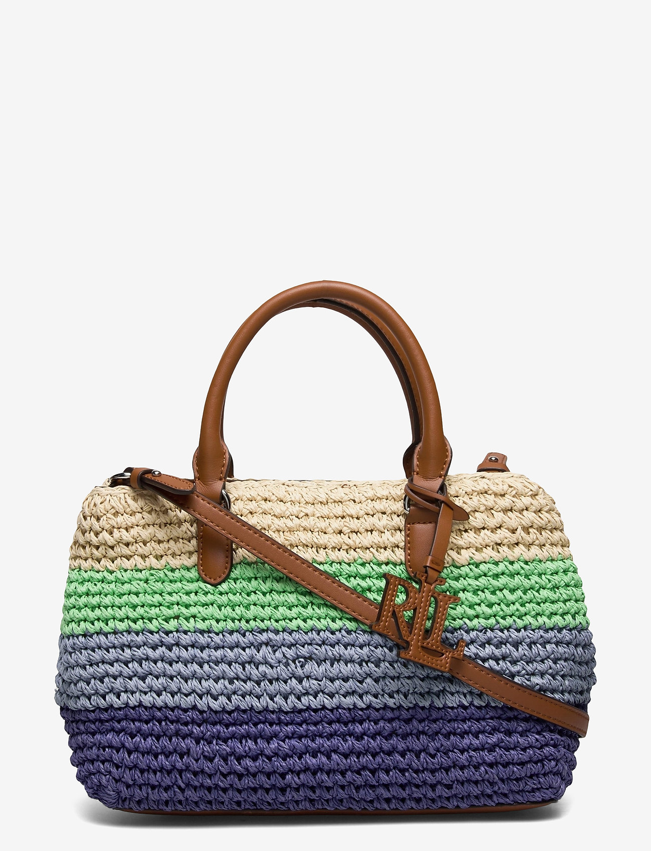 Lauren Ralph Lauren - Crochet-Straw Mini Marcy II Satchel - skuldertasker - cool stripe/laure - 0