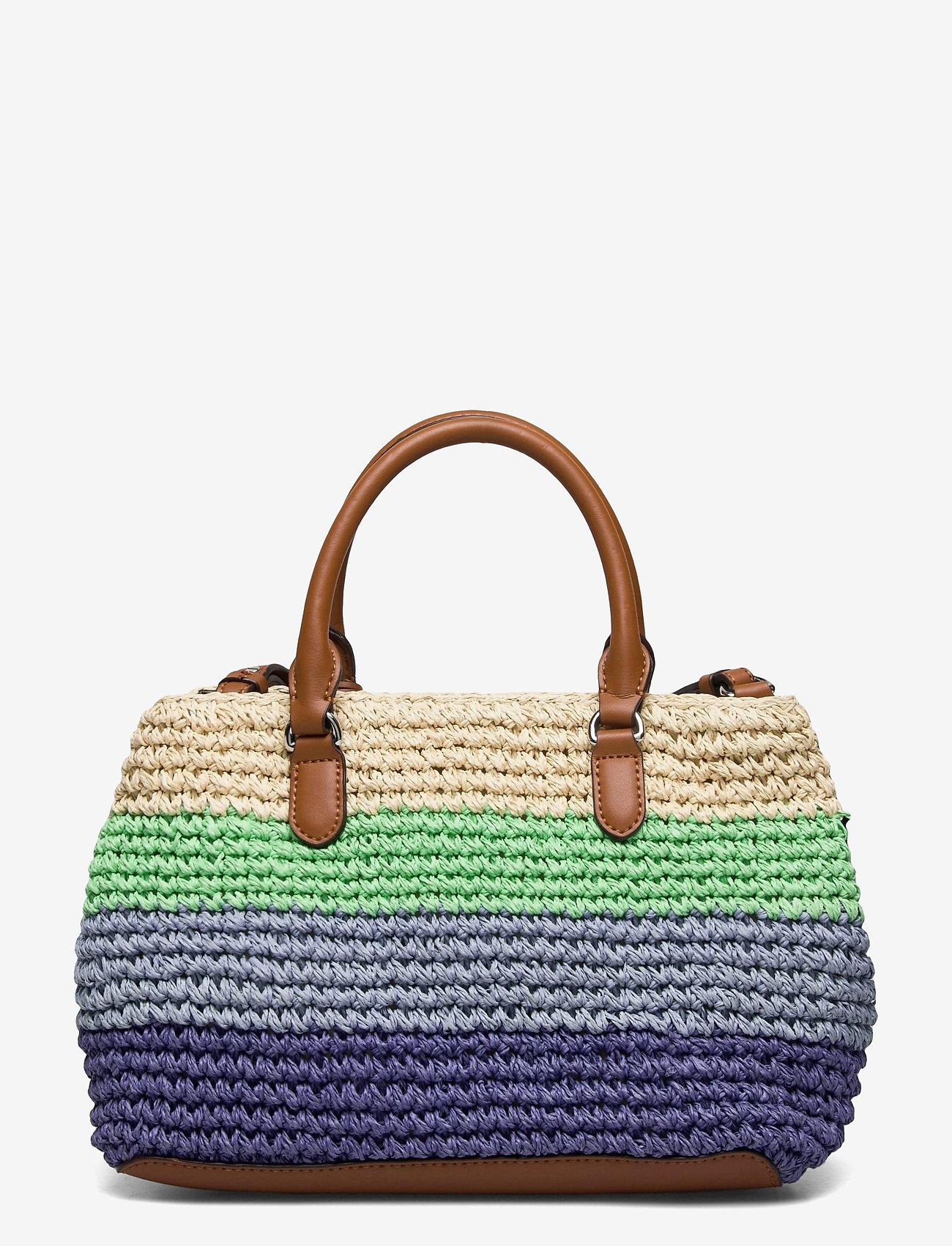 Lauren Ralph Lauren - Crochet-Straw Mini Marcy II Satchel - skuldertasker - cool stripe/laure - 1