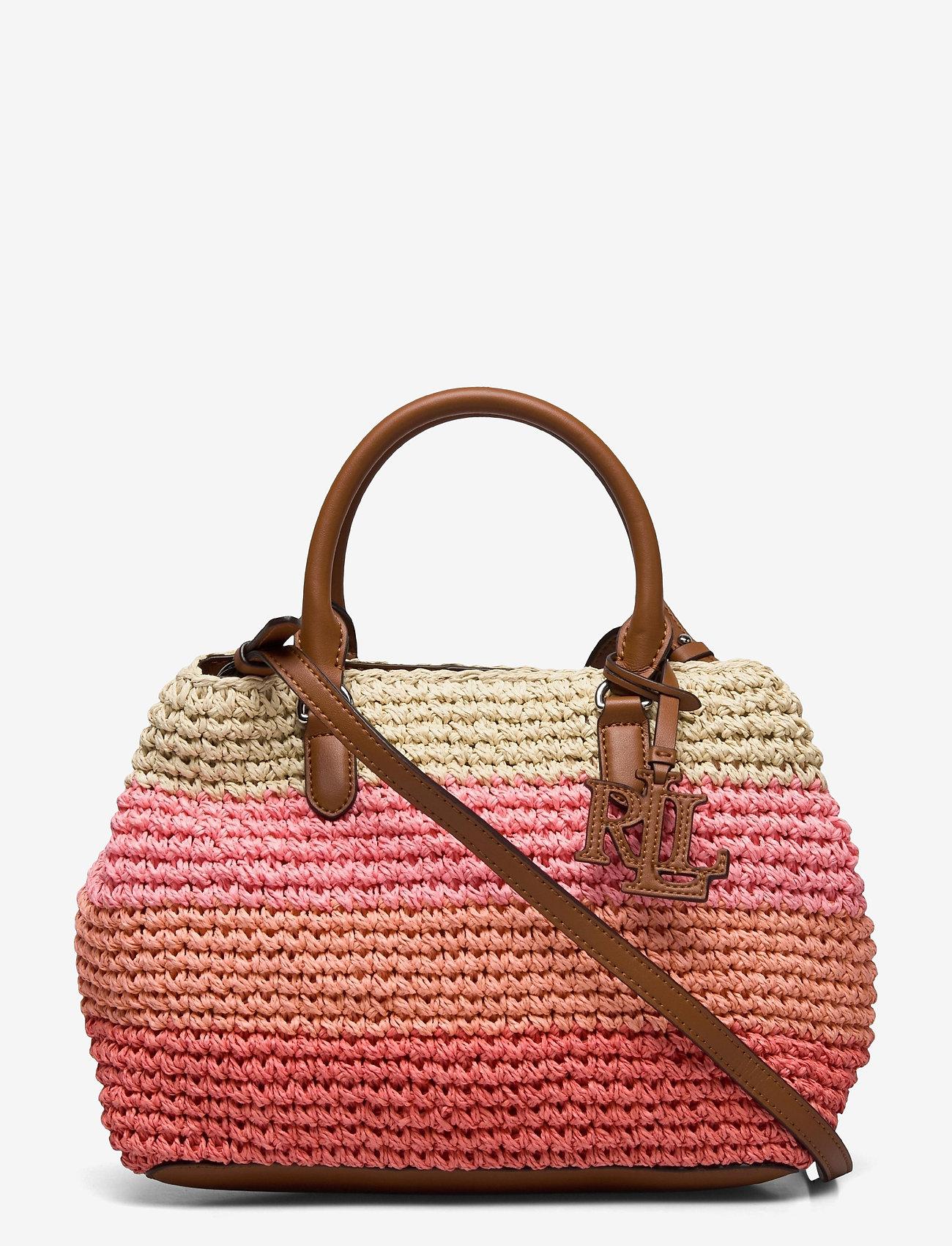 Lauren Ralph Lauren - Crochet-Straw Mini Marcy II Satchel - skuldertasker - warm stripe/laure - 0