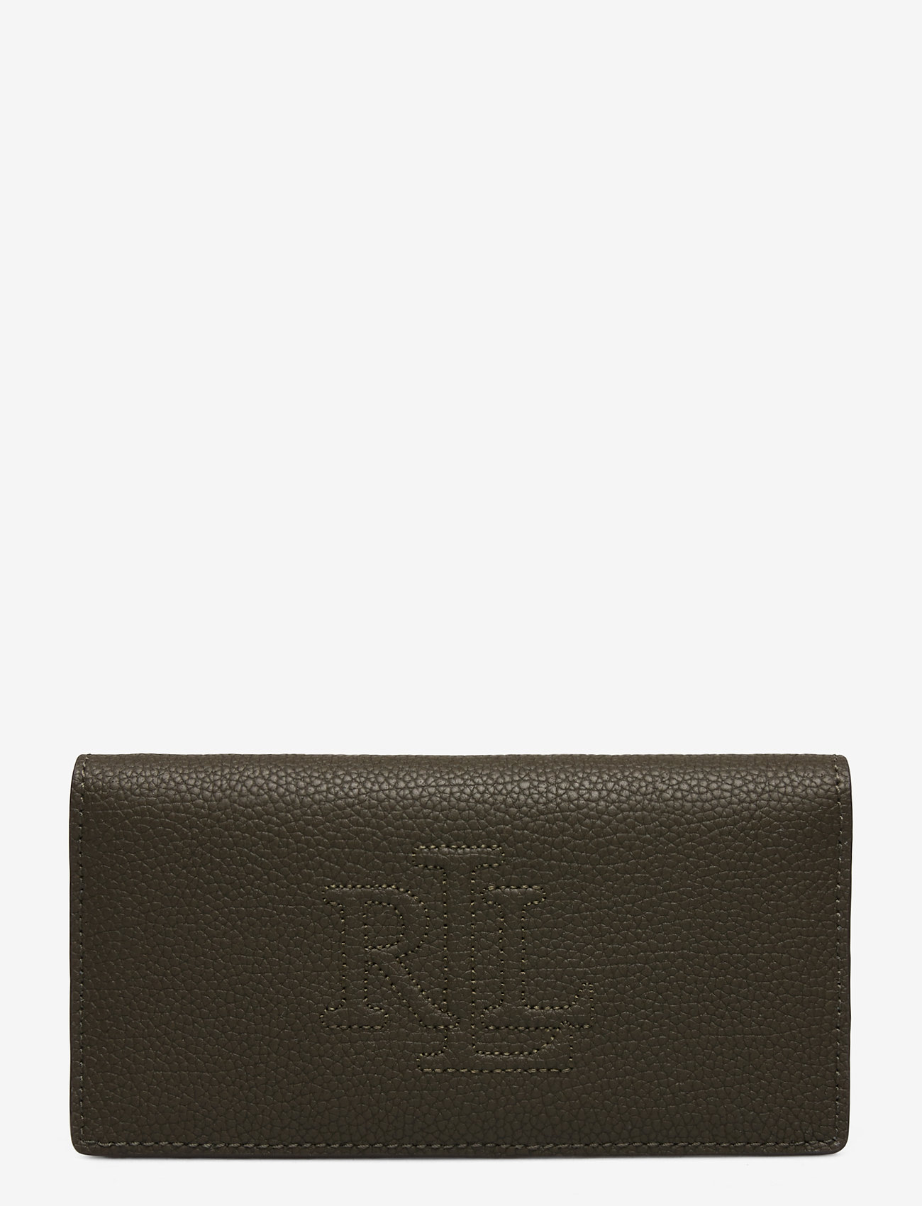 Lauren Ralph Lauren - Slim Pebbled Leather Wallet - beurzen - deep olive - 0