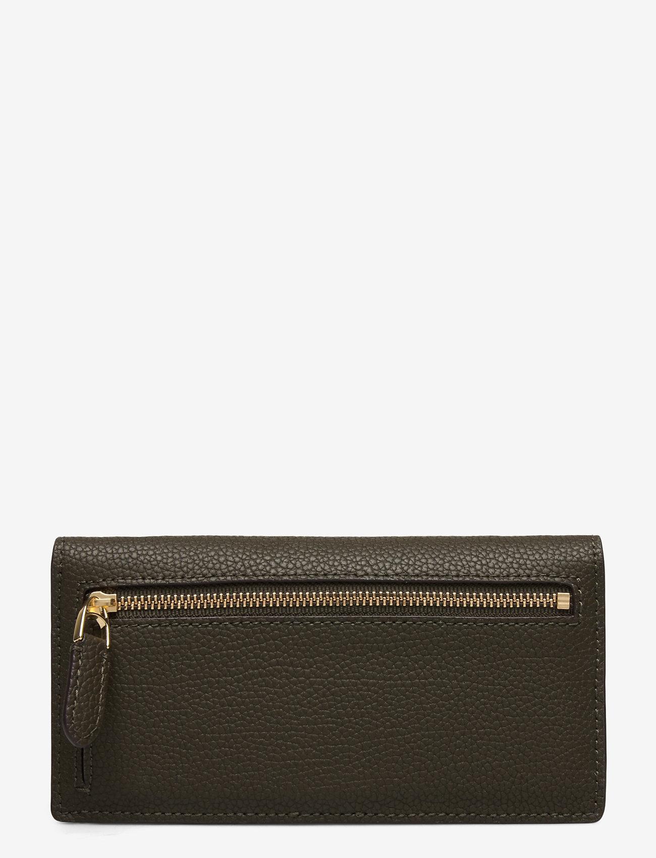 Lauren Ralph Lauren - Slim Pebbled Leather Wallet - beurzen - deep olive - 1