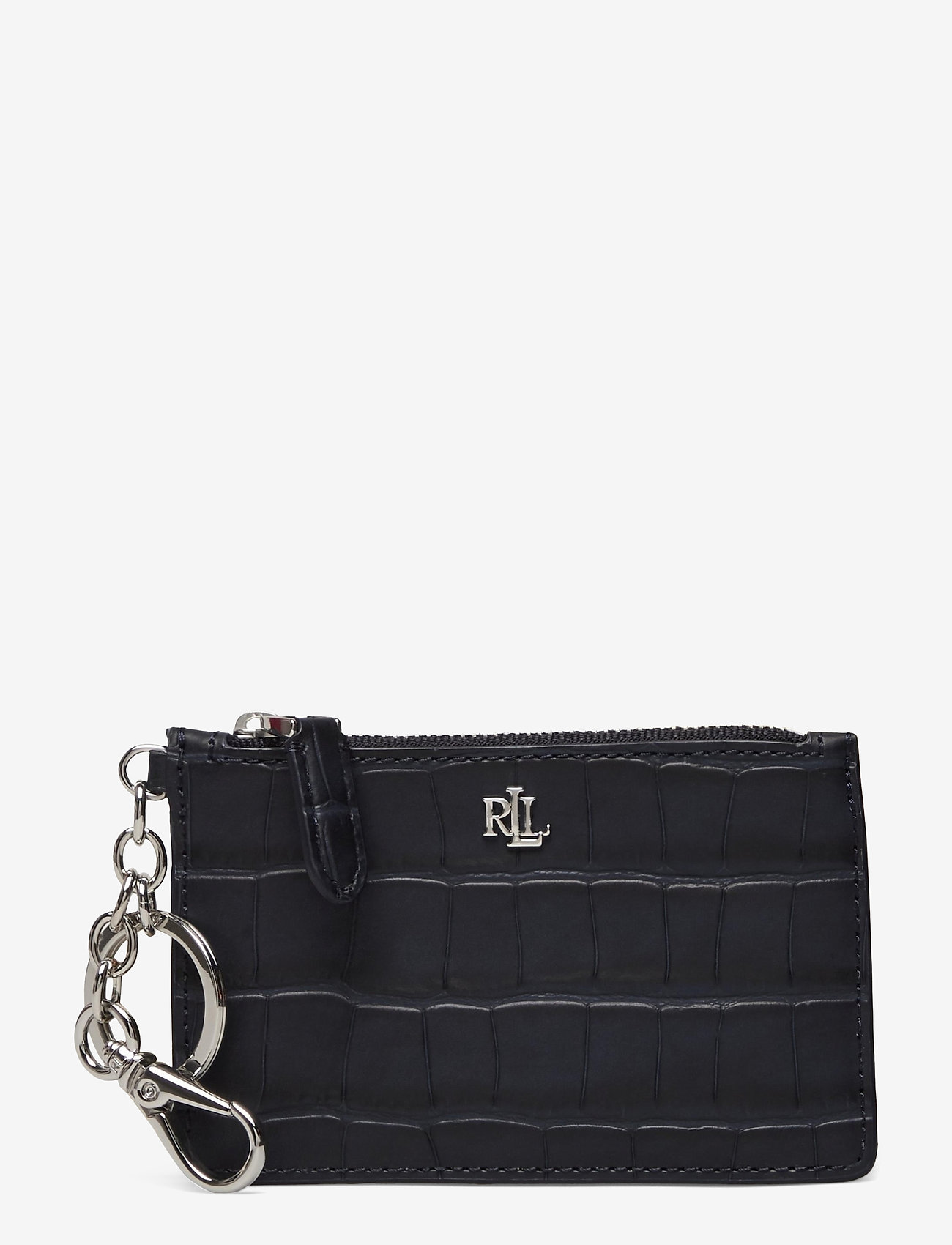 Lauren Ralph Lauren - Embossed Leather Zip Card Case - kortholdere - lauren navy - 0