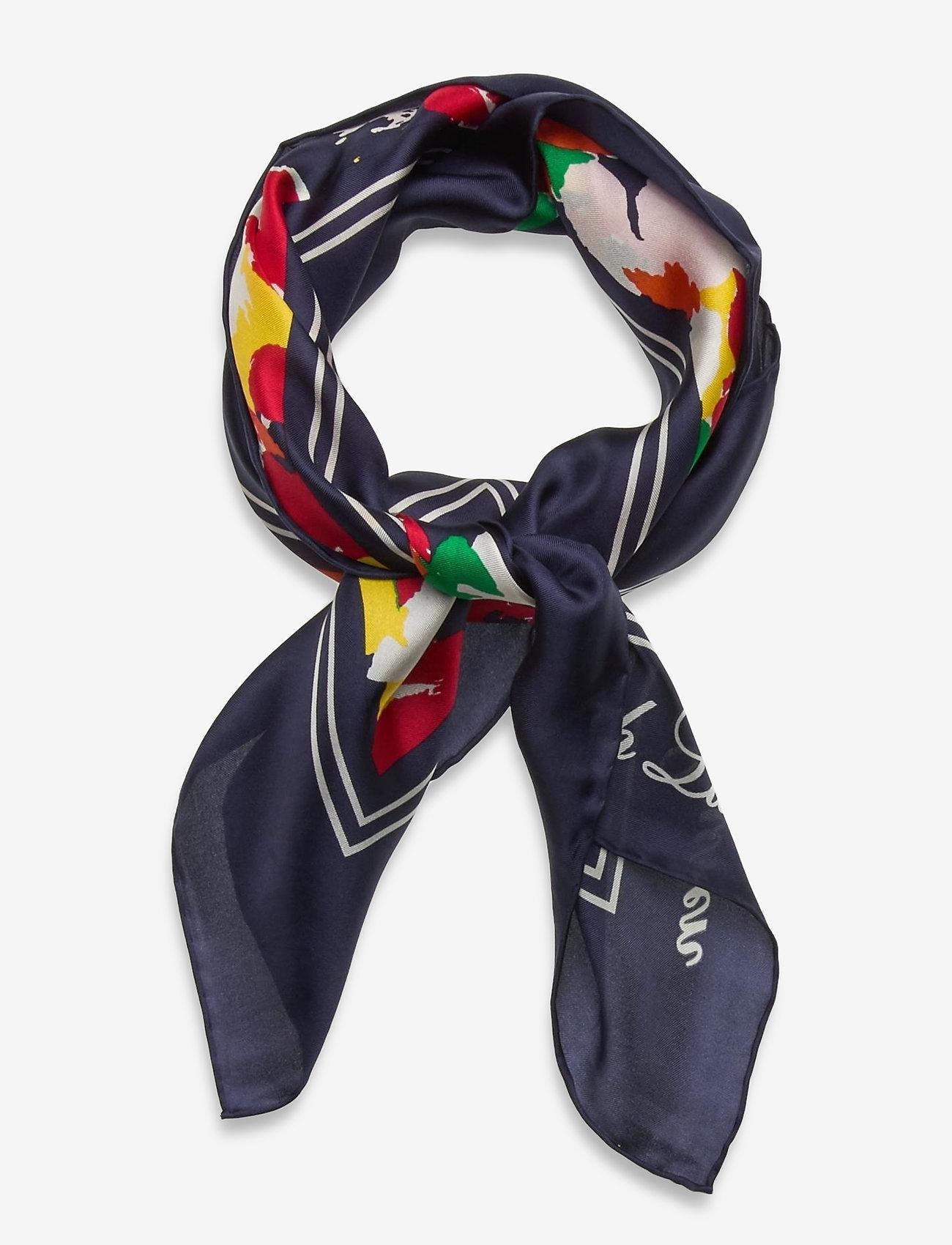Lauren Ralph Lauren - Geri Square Silk Twill Scarf - tynde tørklæder - holiday navy - 0